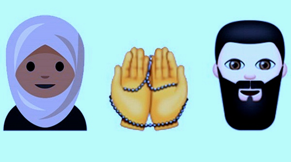hijab, praying hands, and bearded man emojis