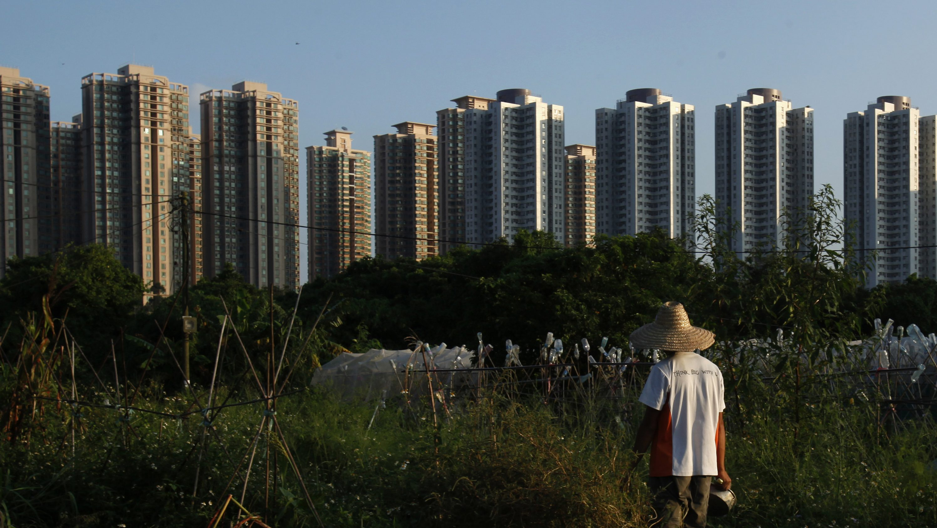 Chan Gar-sun, 26, stands at his farm in front of high-rise residential buildings at Hong Kong New Territories September 25, 2013. Only 18 square kilometres of land in the financial hub are actively farmed, which accounted for 2 per cent of local consumption, according to government figures. Picture taken September 25, 2013.    REUTERS/Bobby Yip  (CHINA - Tags: SOCIETY CITYSCAPE AGRICULTURE) - RTX16SQ4