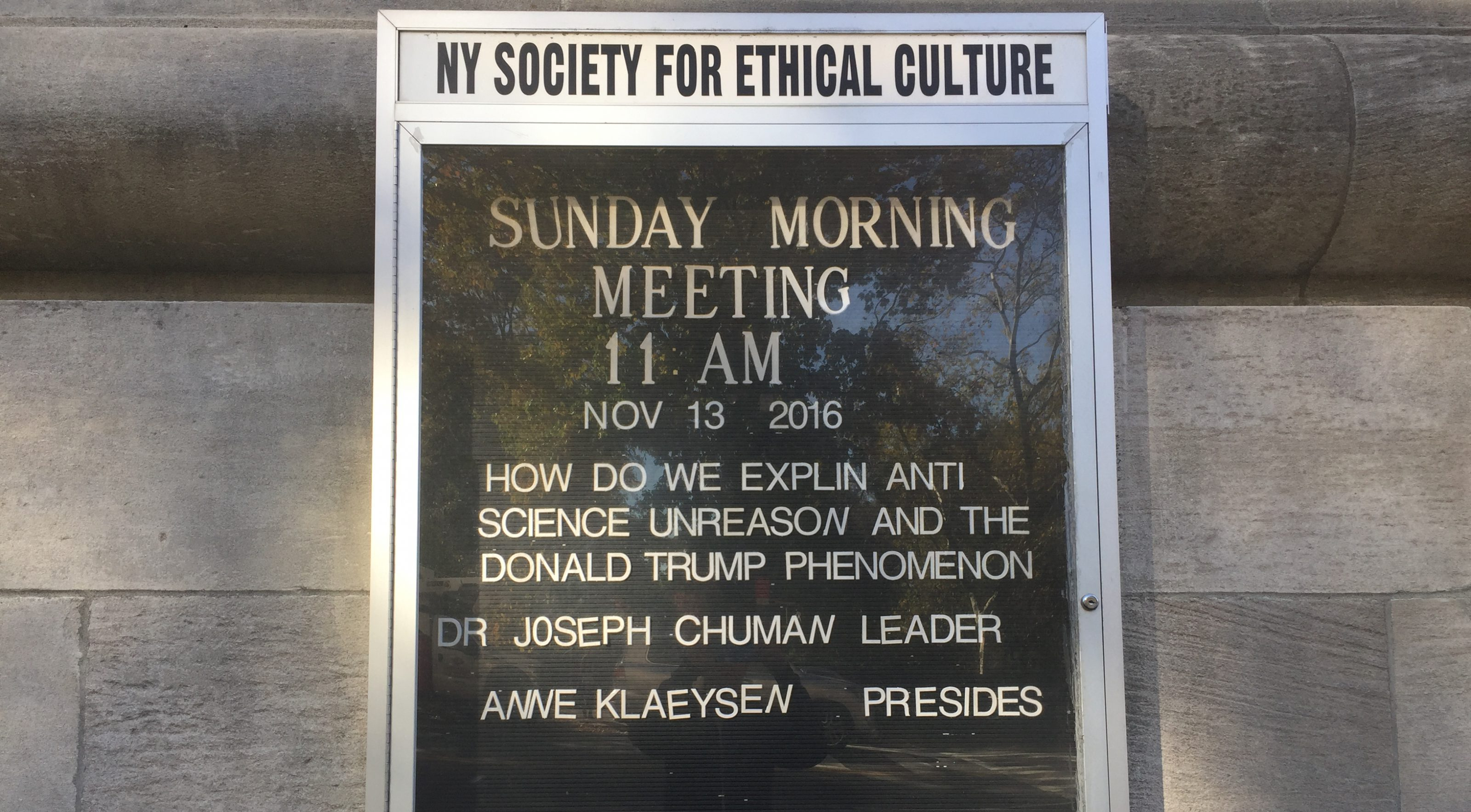 NY Society for Ethical Culture plans a Sunday morning meeting on Nov. 13 about reconciling the election of Donald Trump as US president.