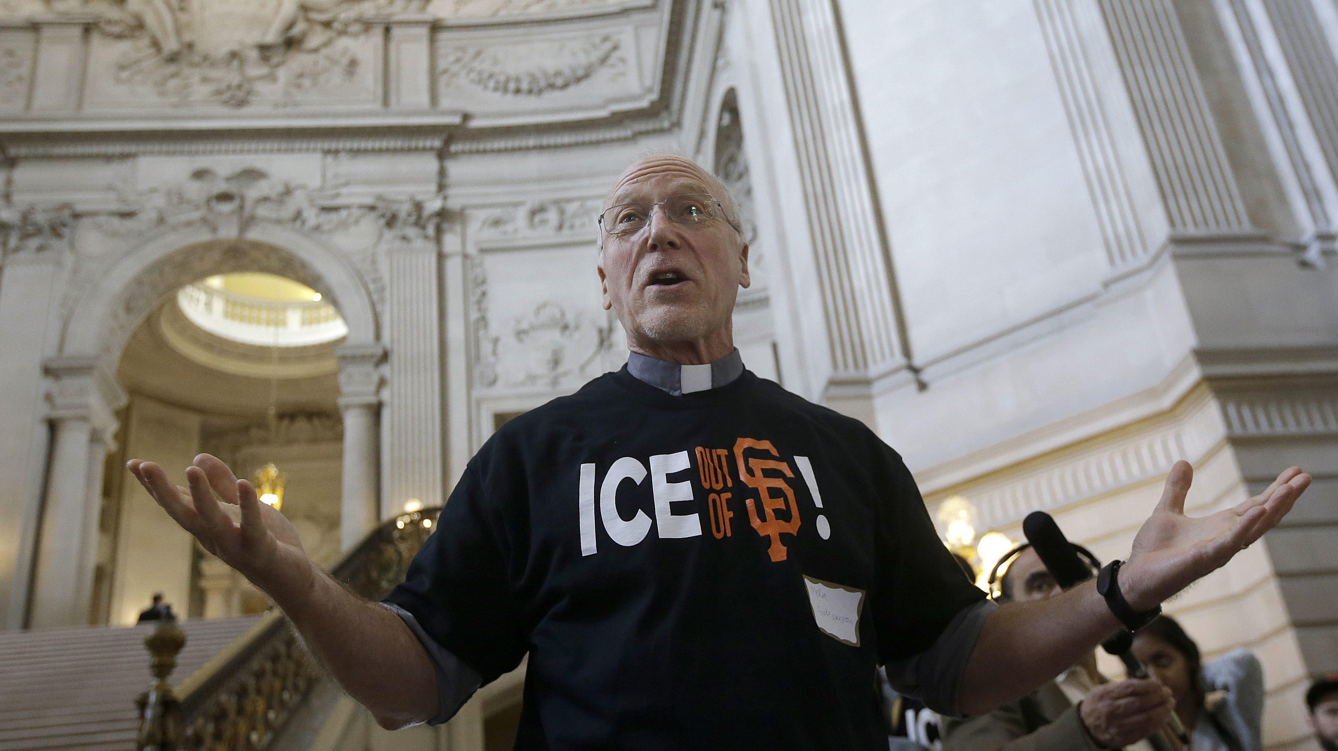 immigrant advocates at San Francisco City hall