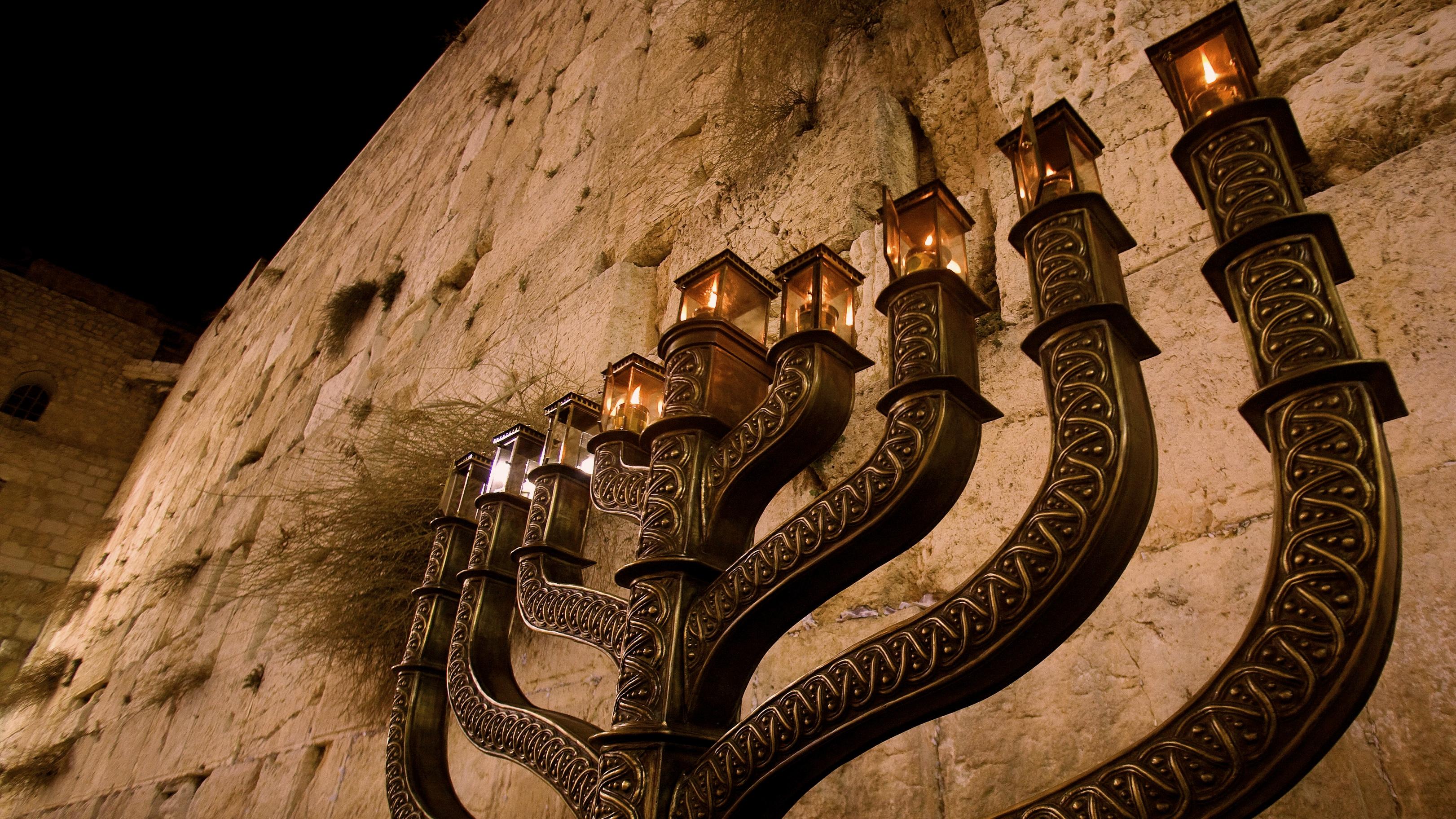 Hanukkah Menorah at the Western Wall in Jerusalem's Old City