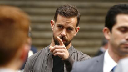 Jack Dorsey, CEO of Square and CEO of Twitter, arrives at the New York Stock Exchange