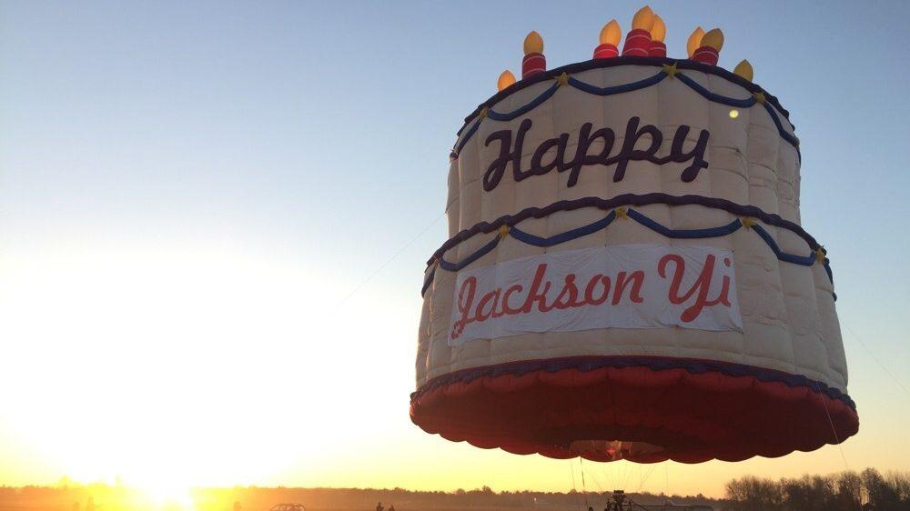 A floating cake in the US celebrating Jackson Yi's birthday.