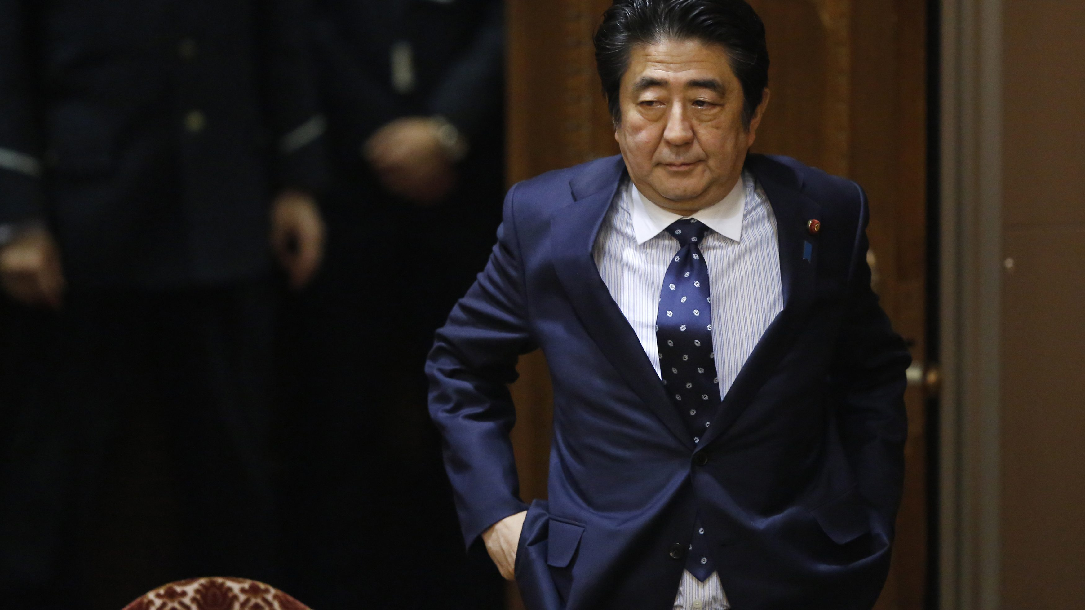 Japan's Prime Minister Shinzo Abe attends an upper house committee session at the parliament in Tokyo February 3, 2015.