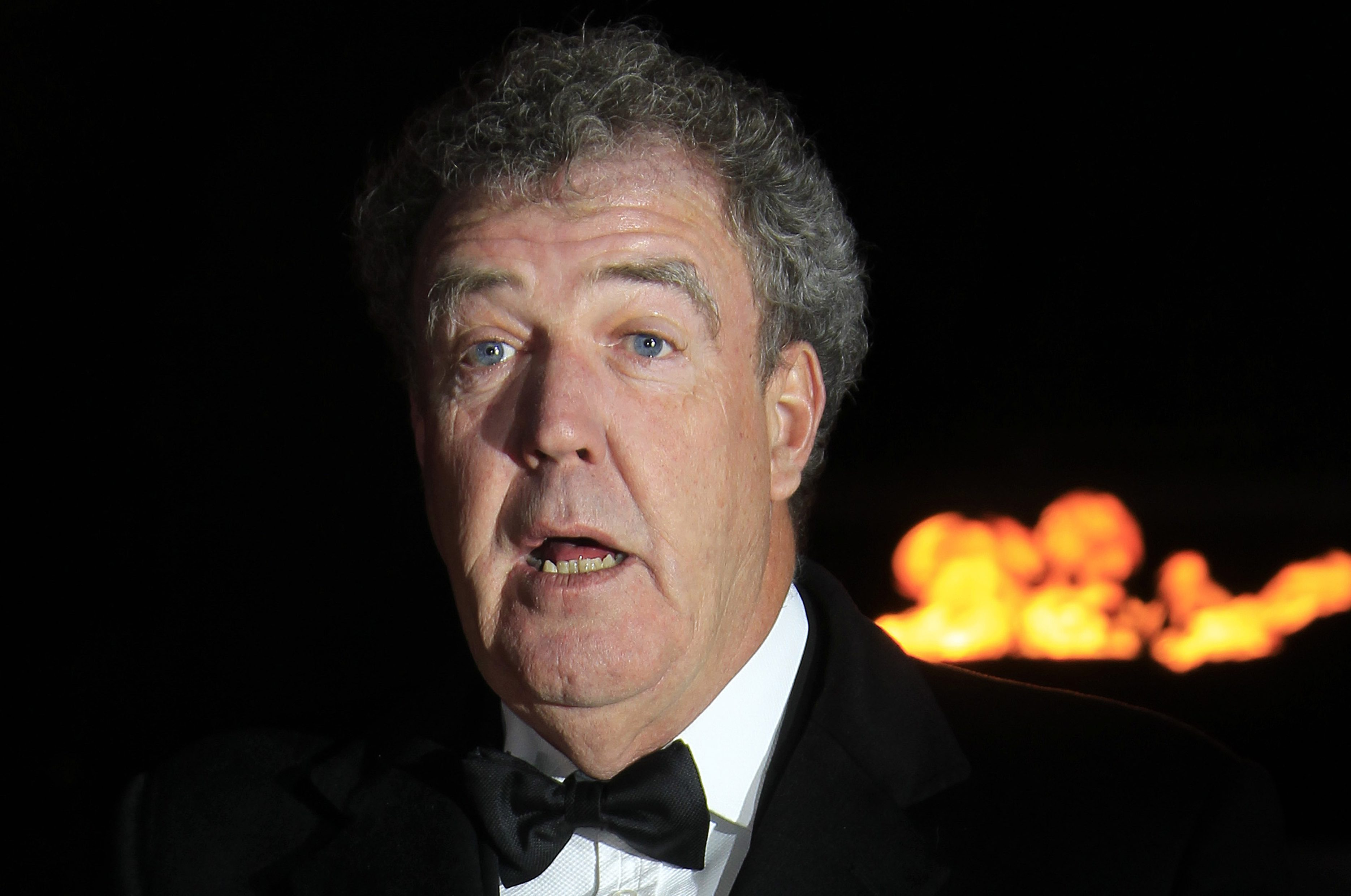 Jeremy Clarkson arrives on the red carpet for the Sun Military Awards at the Imperial War Museum, Thursday, Dec. 6, 2012. The Millies, saluting the bravery of Britain's Armed Forces, are in their fifth year.(Photo by Joel Ryan/Invision/AP)