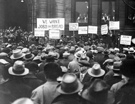 """A """"hunger march"""" of several hundred persons on the St. Louis City Hall on Jan. 16, 1930, as a demonstration against unemployment resulted in the arrest of eight men and two women after a delegation of 40 had been ejected from the board of Aldermen chamber by policemen and driven from the halls by the use of tear gas bomb."""