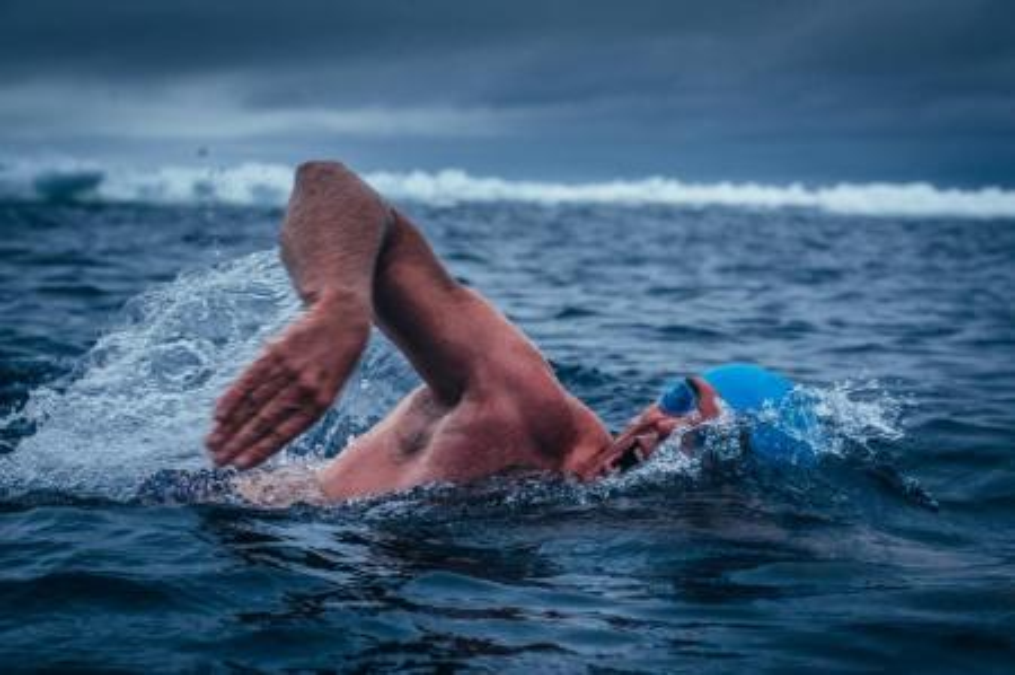 Lewis Pugh in Antarctic waters.