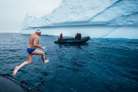 Lewis Pugh jumps into the Ross Sea.