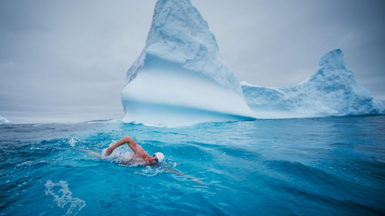 Lewis Pugh swims in the Ross Sea
