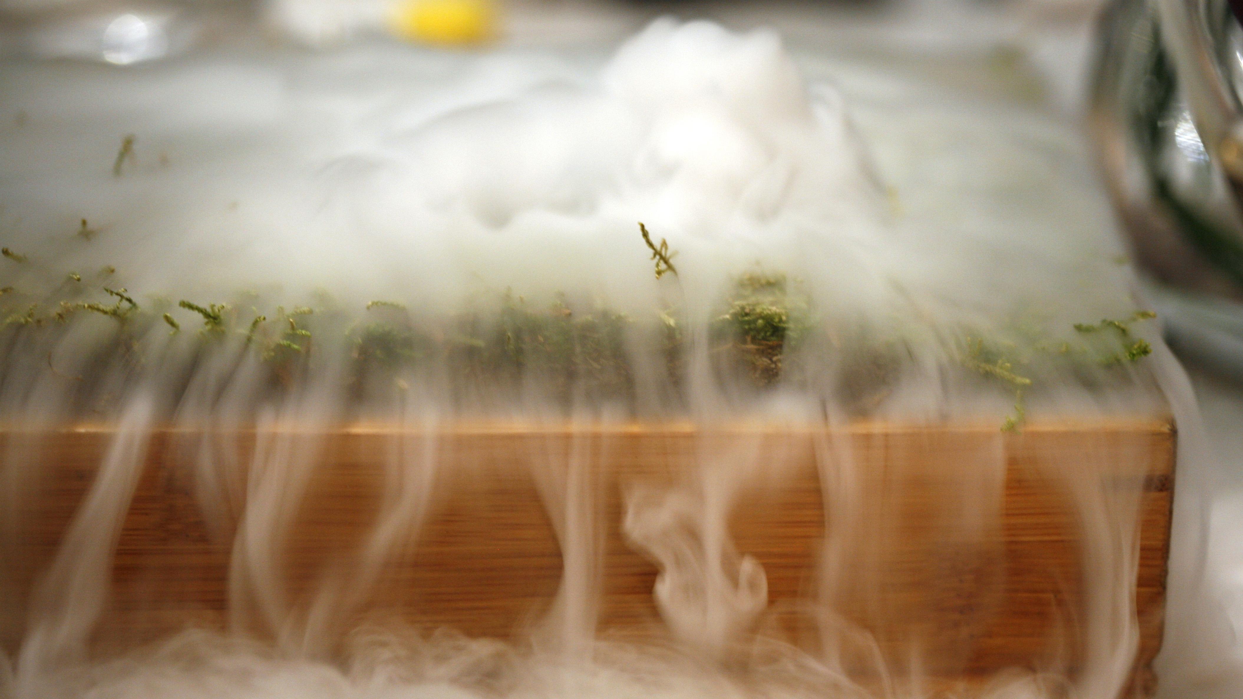 liquid nitrogen poured on grass