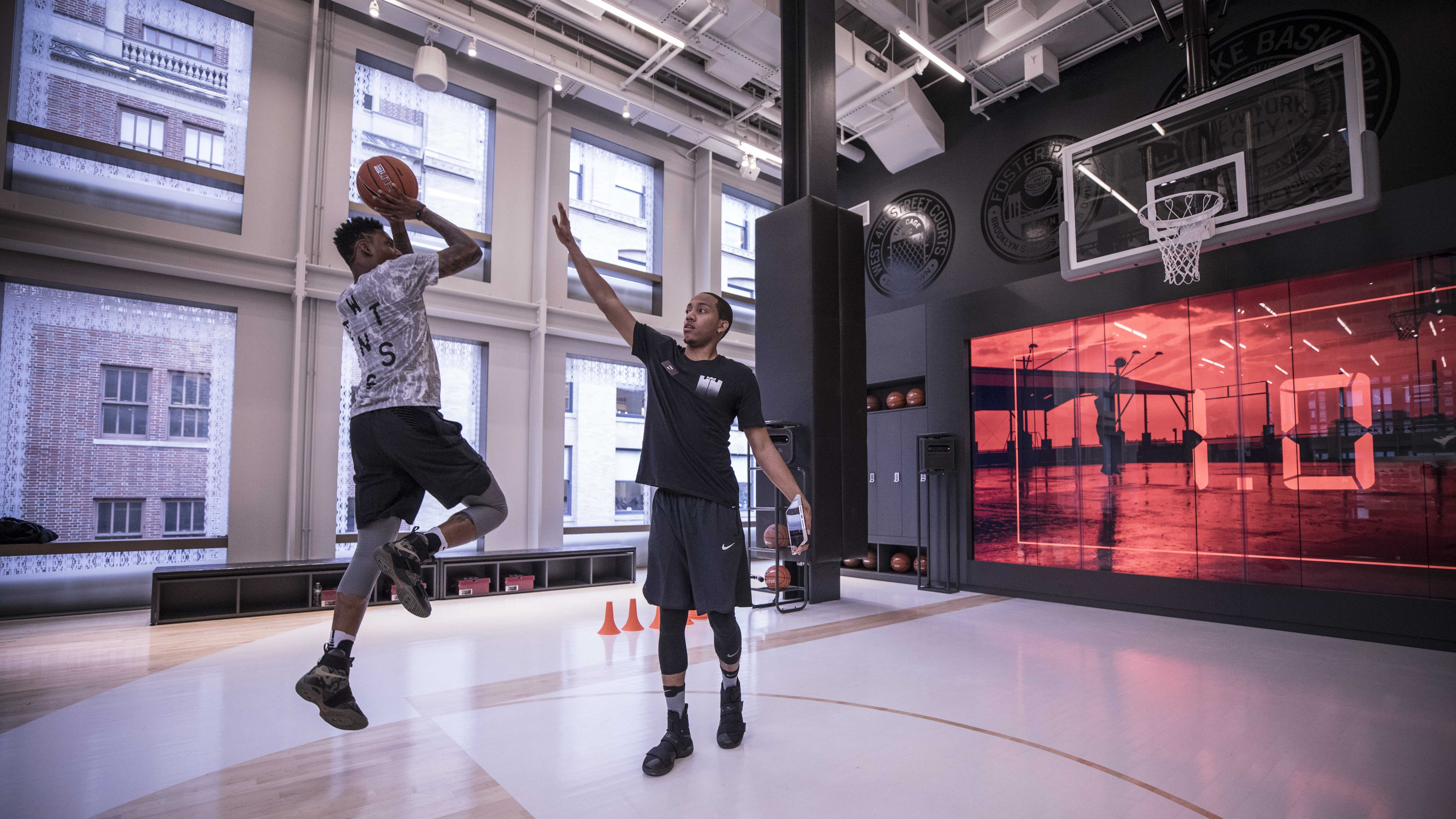 The basketball trial area in Nike's new Soho, New York, store
