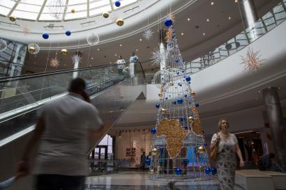 Christmas decorations at the Mall of Africa.