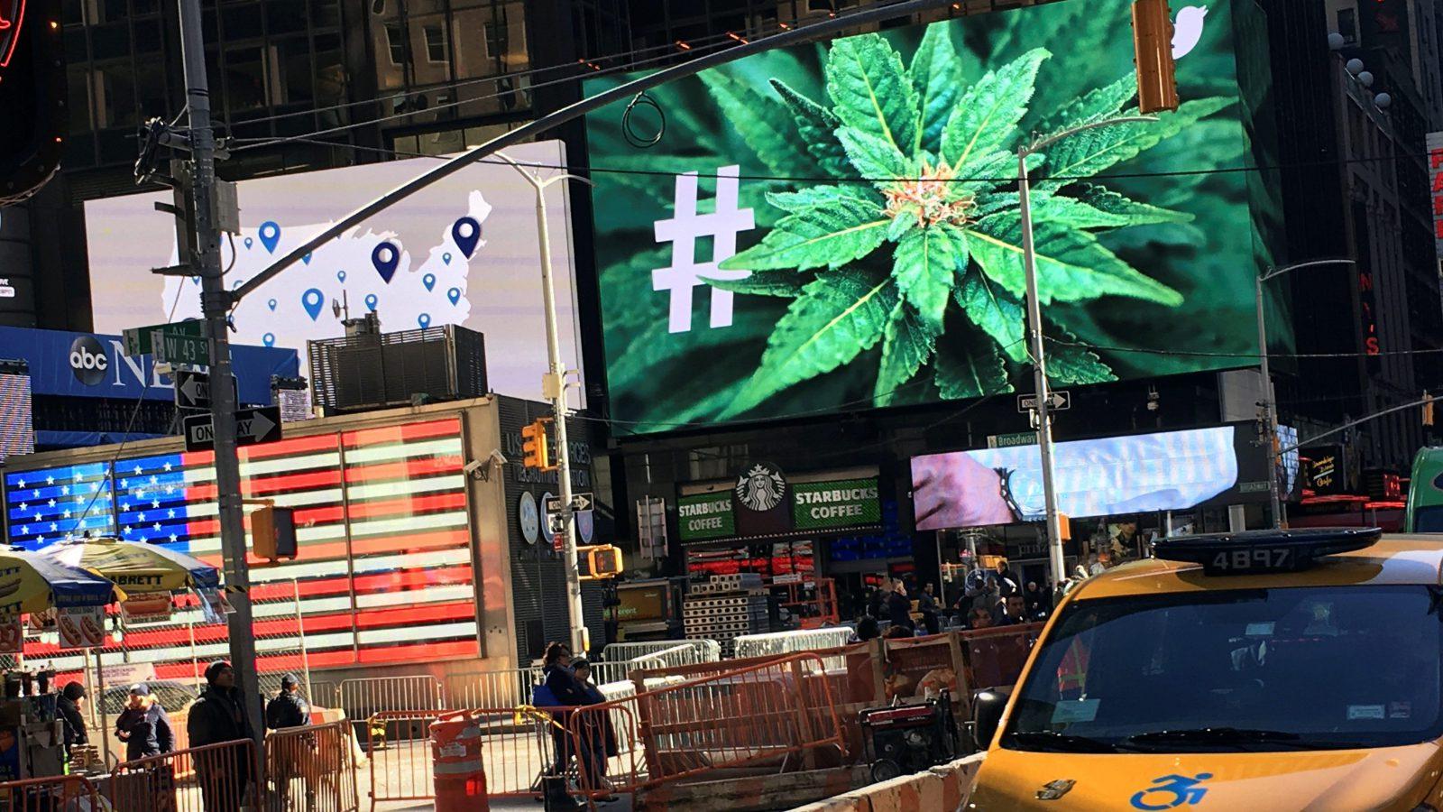 marijuana displayed on a Times Square billboard