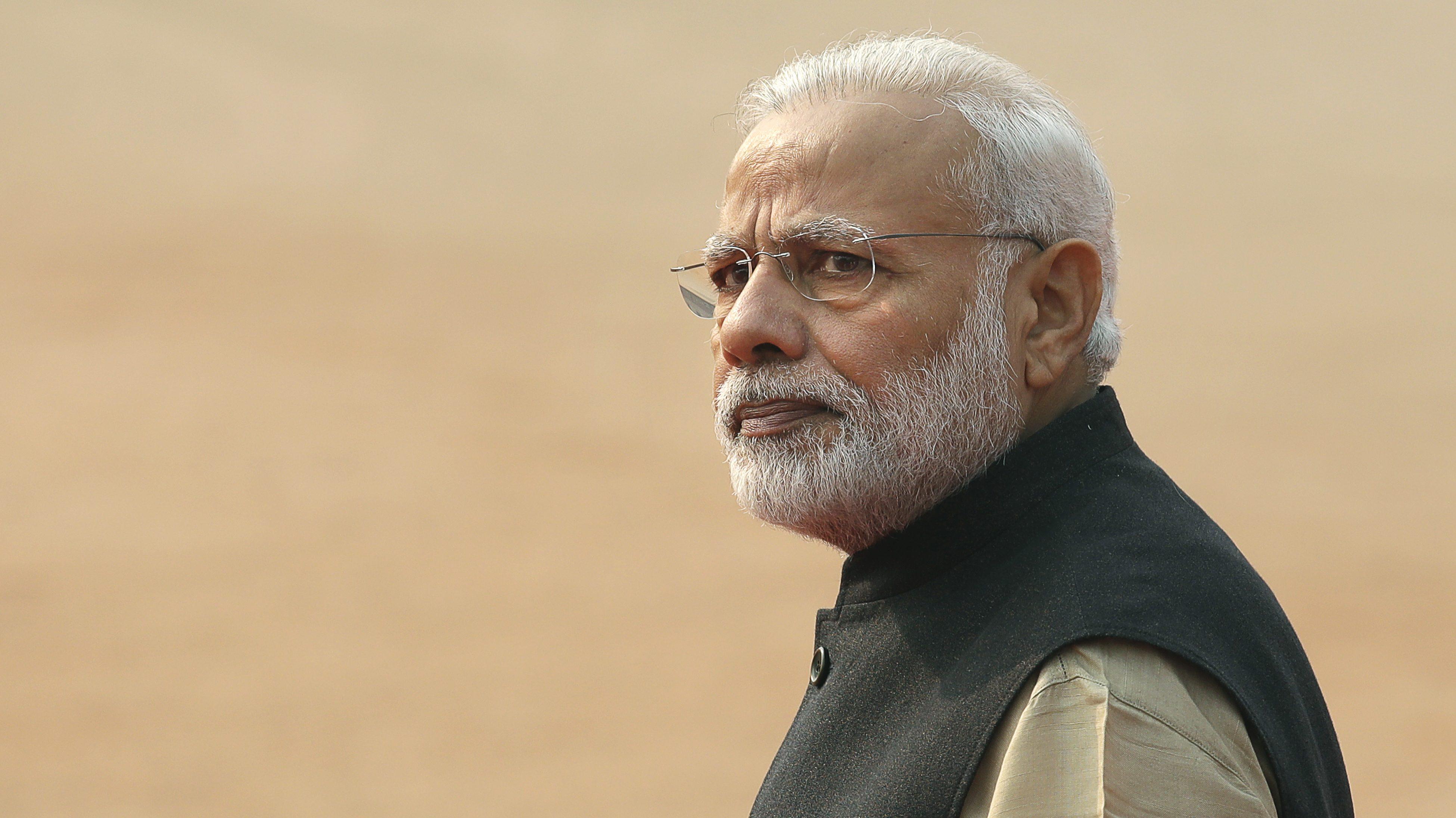 Indian Prime Minister Narendra Modi arrives for the ceremonial reception of visiting Israeli President Reuven Rivlin, in New Delhi, India, Tuesday, Nov. 15, 2016.