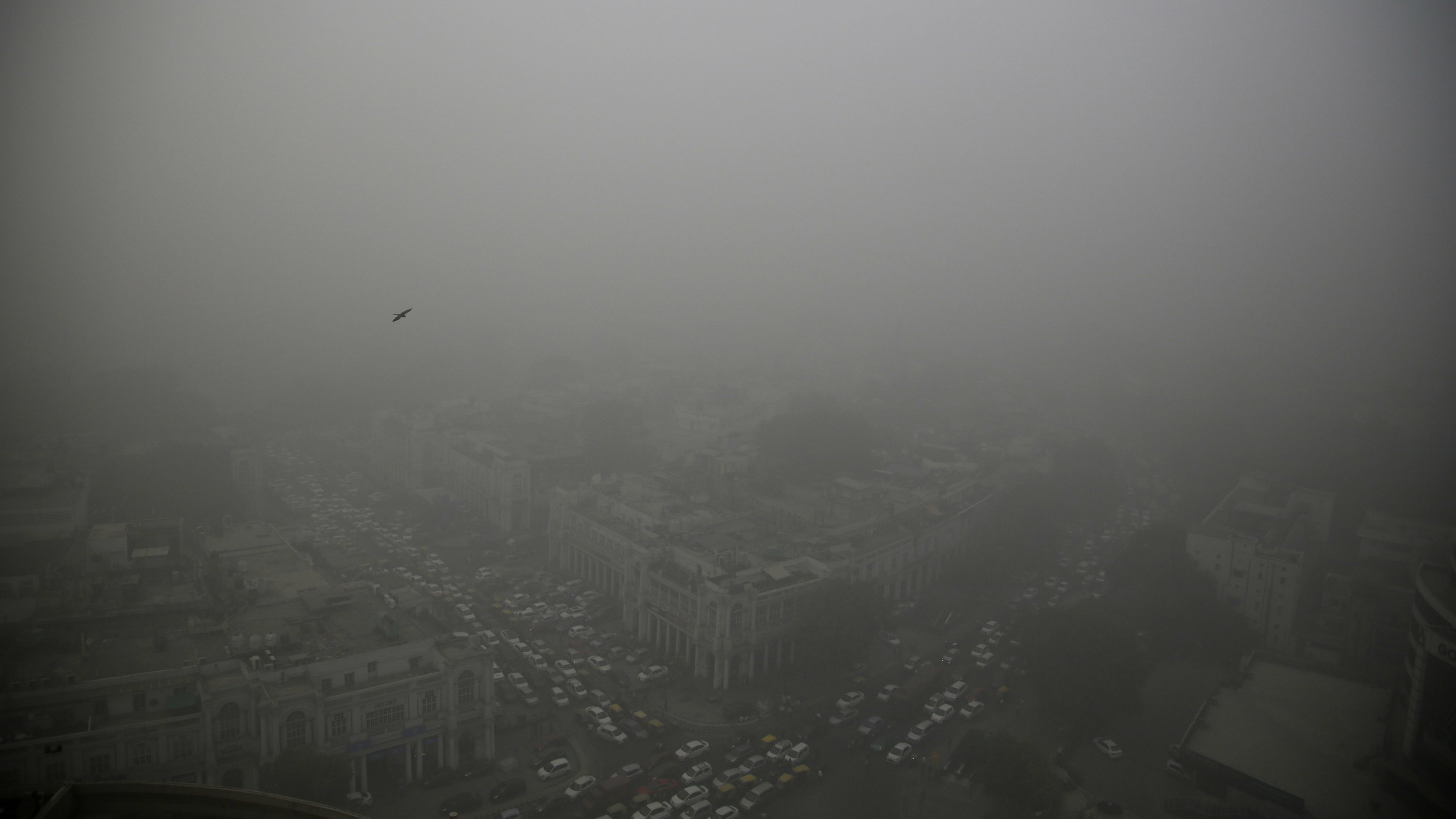 A thick layer of smog covers Connaught Place, the heart of New Delhi, India, on Saturday, Nov. 5, 2016. According to one advocacy group, government data shows that the smog that enveloped New Delhi the past week was the worst in the last 17 years. The concentration of PM2.5, a tiny particulate that can clog lungs, averaged close to 700 micrograms per cubic meter - 12 times the government norm and 70 times the WHO standards.
