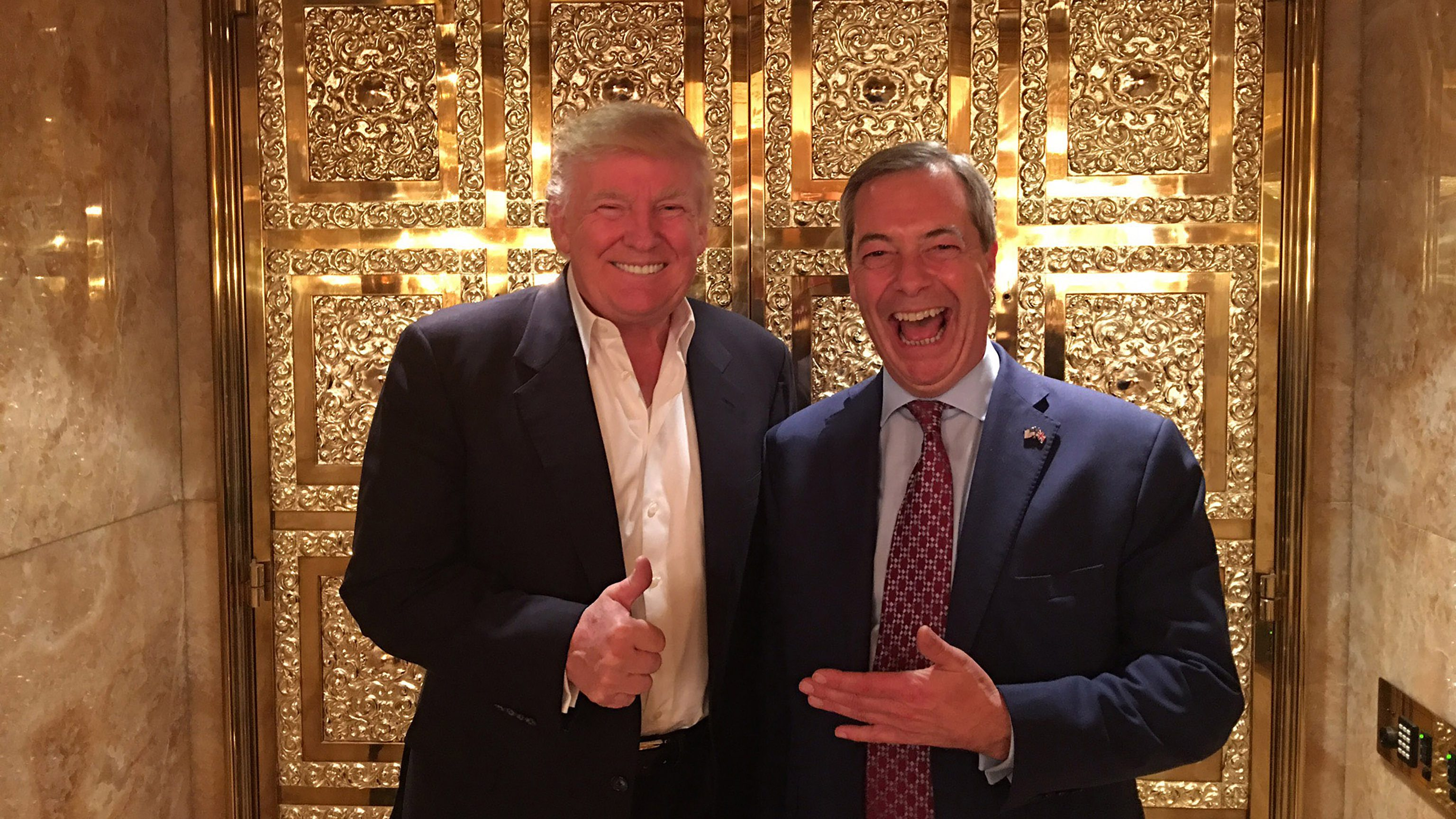 EXCLUSIVE: **PREMIUM EXCLUSIVE RATES APPLY** British politician Nigel Farage meets President Elect Donald Trump at the Trump Tower, NYC on November 12th. Mr Farage - the acting leader of UKIP - was invited to spend time with Mr Trump after joining him on the 2016 US presidential campaign trail.