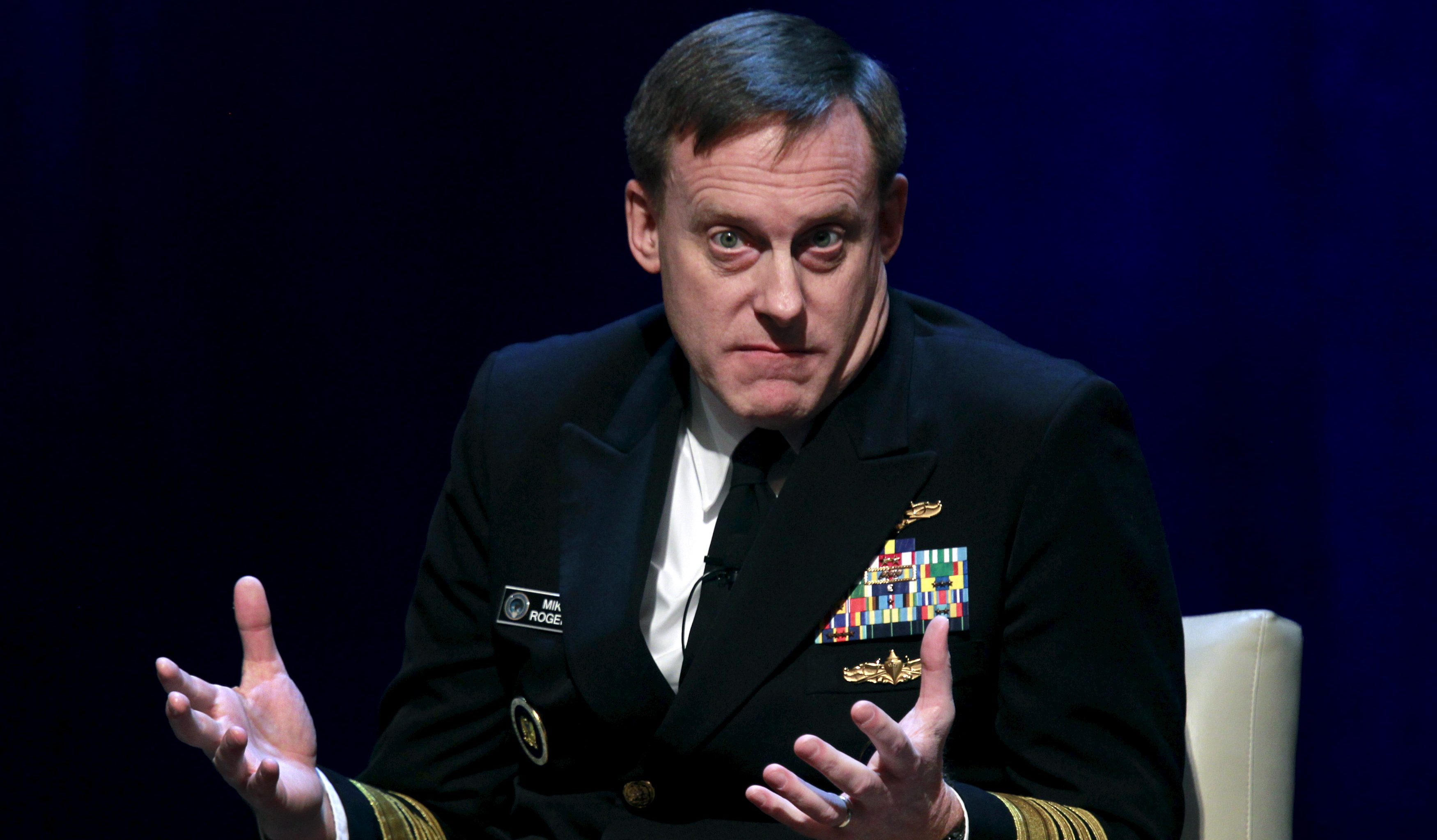 "Admiral Michael Rogers, director of U.S. National Security Agency (NSA), takes part in a conference on national security titled ""The Ethos and Profession of Intelligence"" in Washington October 27, 2015."