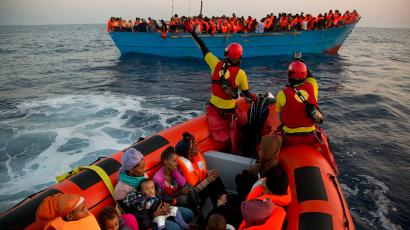 Refugees fleeing Libya by boat