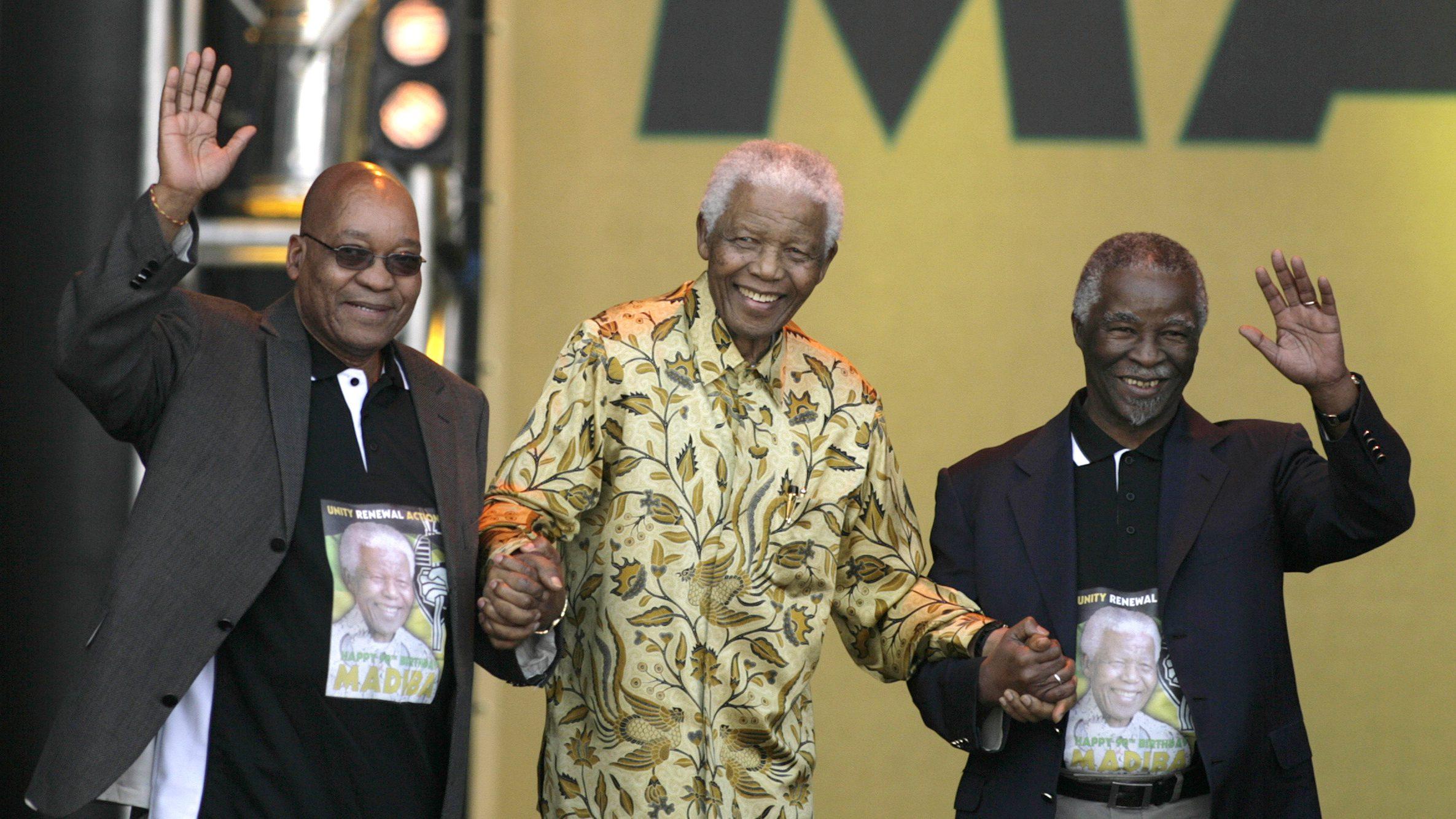 Nelson Mandela, Jacob Zuma and Thabo Mbeki appear at a rally in Pretoria in 2008 to celebrate Mandelas 90th birthday.