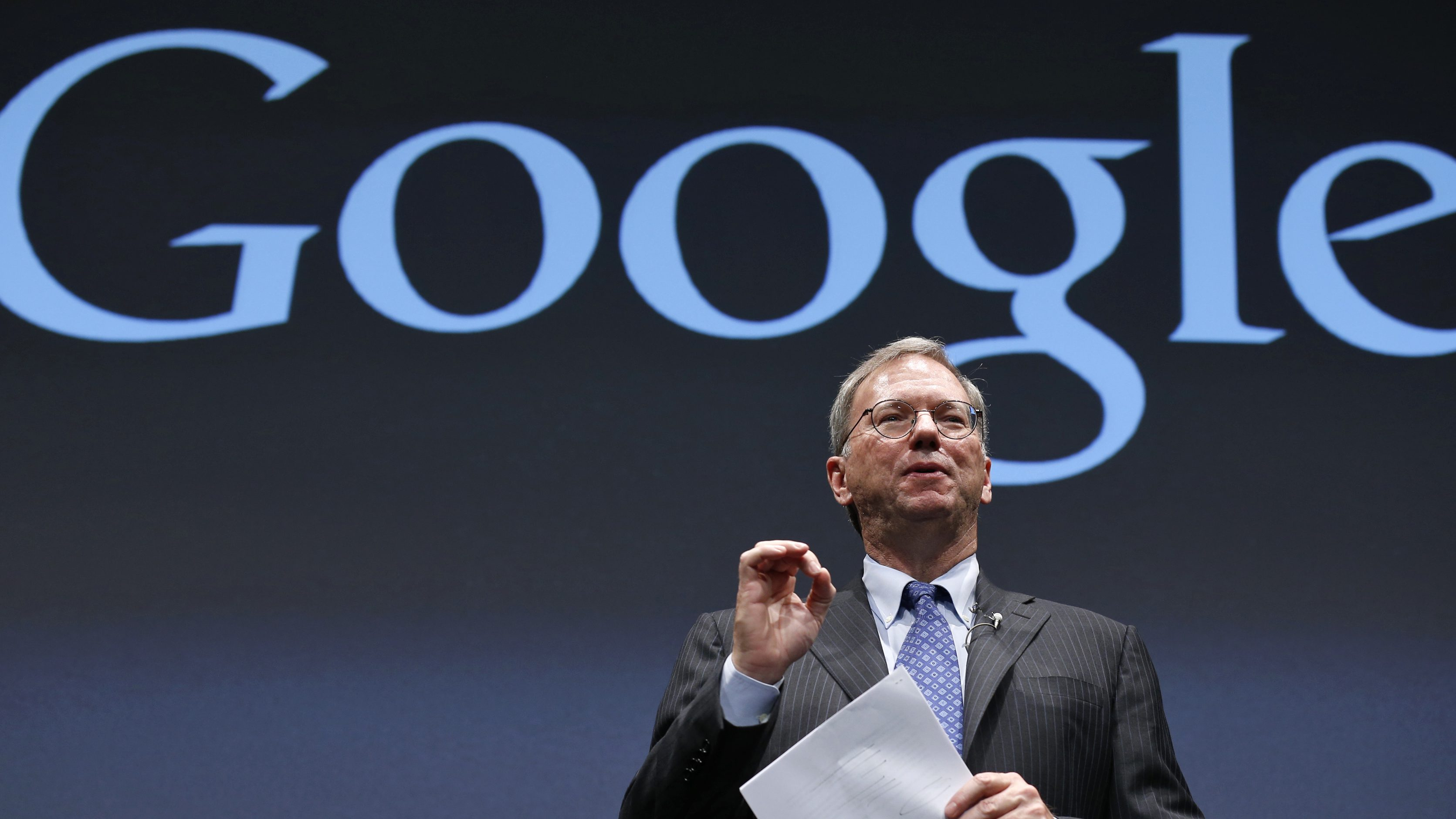 Google Executive Chairman Eric Schmidt speaks at a promotional event for the Nexus 7 tablet in Tokyo September 25, 2012.