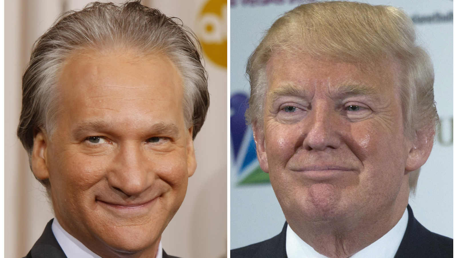 This combination photo shows Bill Maher in Hollywood, California, February 22, 2009 and Donald Trump in Las Vegas, Nevada, December 19, 2012. Trump, the famously outspoken real estate magnate has sued famously outspoken television host Bill Maher, demanding the $5 million Maher offered to give to charity if Trump could prove his father is not an orangutan. But legal experts say Trump is unlikely to get a dime from Maher, the host of the HBO series Real Time With Bill Maher, because his offer was clearly made in jest.  REUTERS/Mike Blake/Steve Marcus/Files