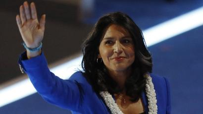 U.S. Representative Tulsi Gabbard (D-HI) waves after making a nomination speech for Senator Bernie Sanders at the Democratic National Convention in Philadelphia, Pennsylvania, U.S. July 26, 2016. REUTERS/Scott Audette - RTSJSD4