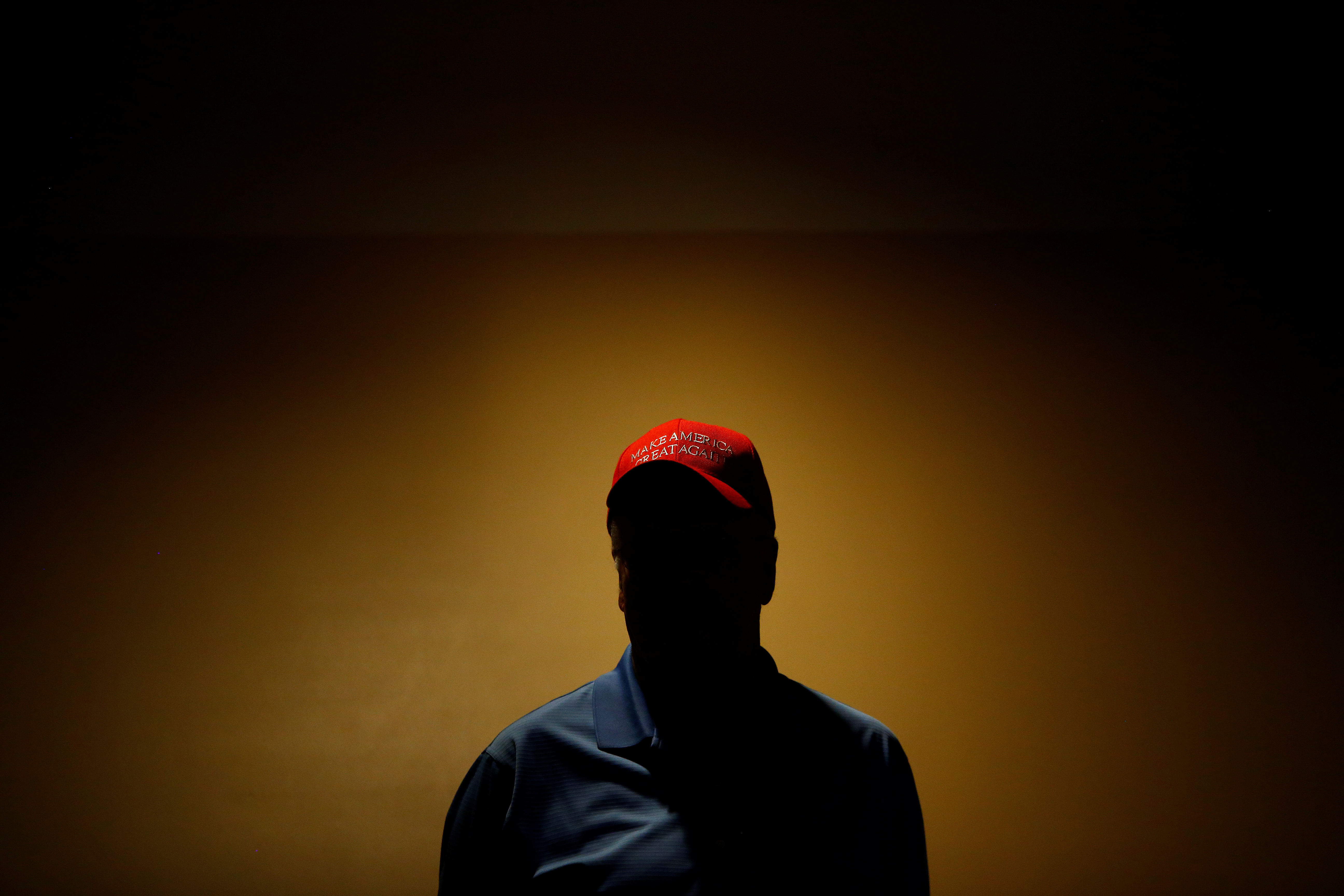 A supporter is seen before Republican U.S. Presidential nominee Donald Trump attends a campaign event at the Merrill Auditorium in Portland, Maine