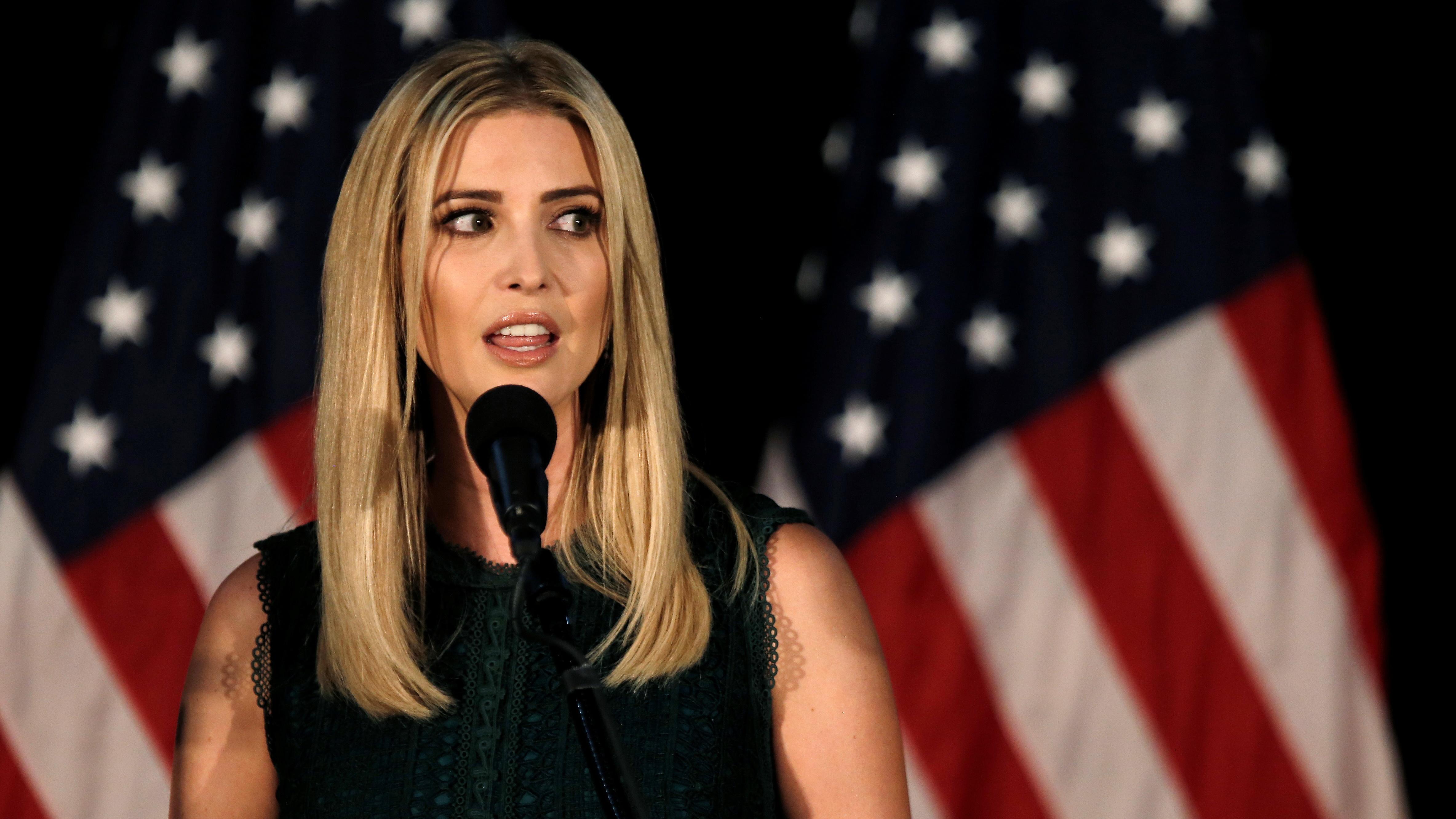 Ivanka Trump, daughter of Republican presidential nominee Donald Trump, speaks at a campaign event in Aston, Pennsylvania, U.S., September 13, 2016. REUTERS/Mike Segar