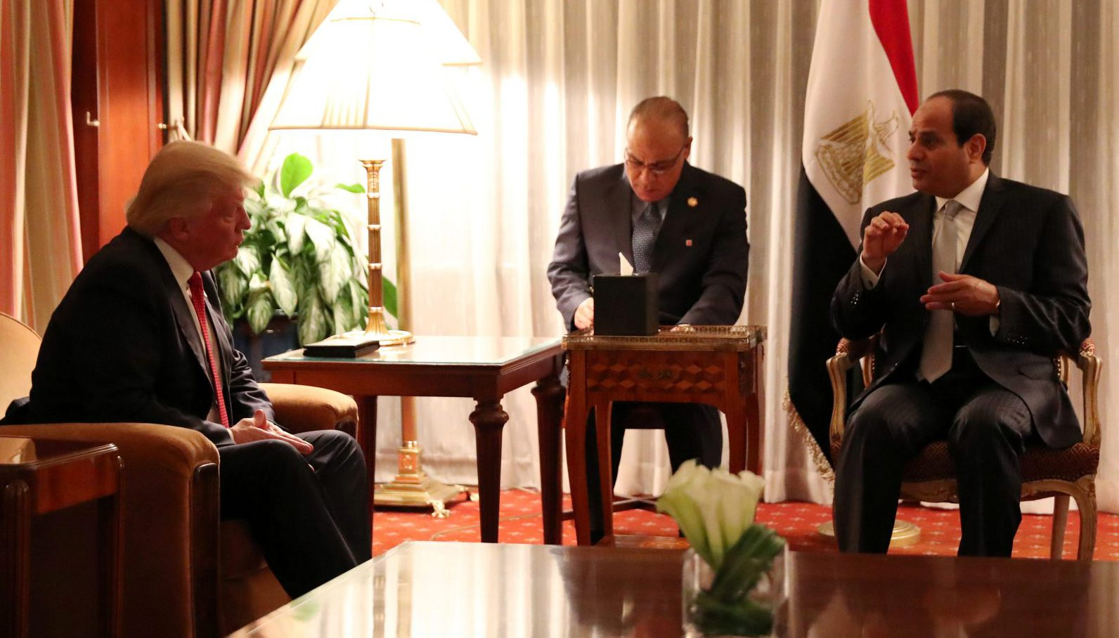 Republican presidential nominee Donald Trump holds a bilateral meeting with Egyptian President Abdel Fattah el-Sisi in Manhattan, New York, U.S., September 19, 2016.