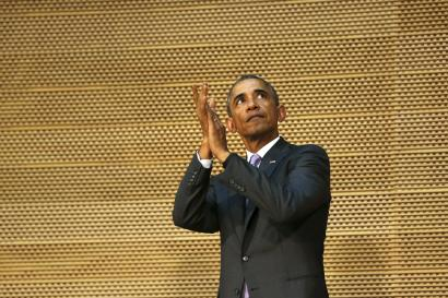 U.S. President Barack Obama applauds the assembly at the end of his remarks to the African Union in Addis Ababa, Ethiopia July 28, 2015. Obama toured a U.S.-supported food factory in Ethiopia on Tuesday on the last leg of an Africa trip, before winding up his visit at the African Union where he will become the first U.S. president to address the 54-nation body.