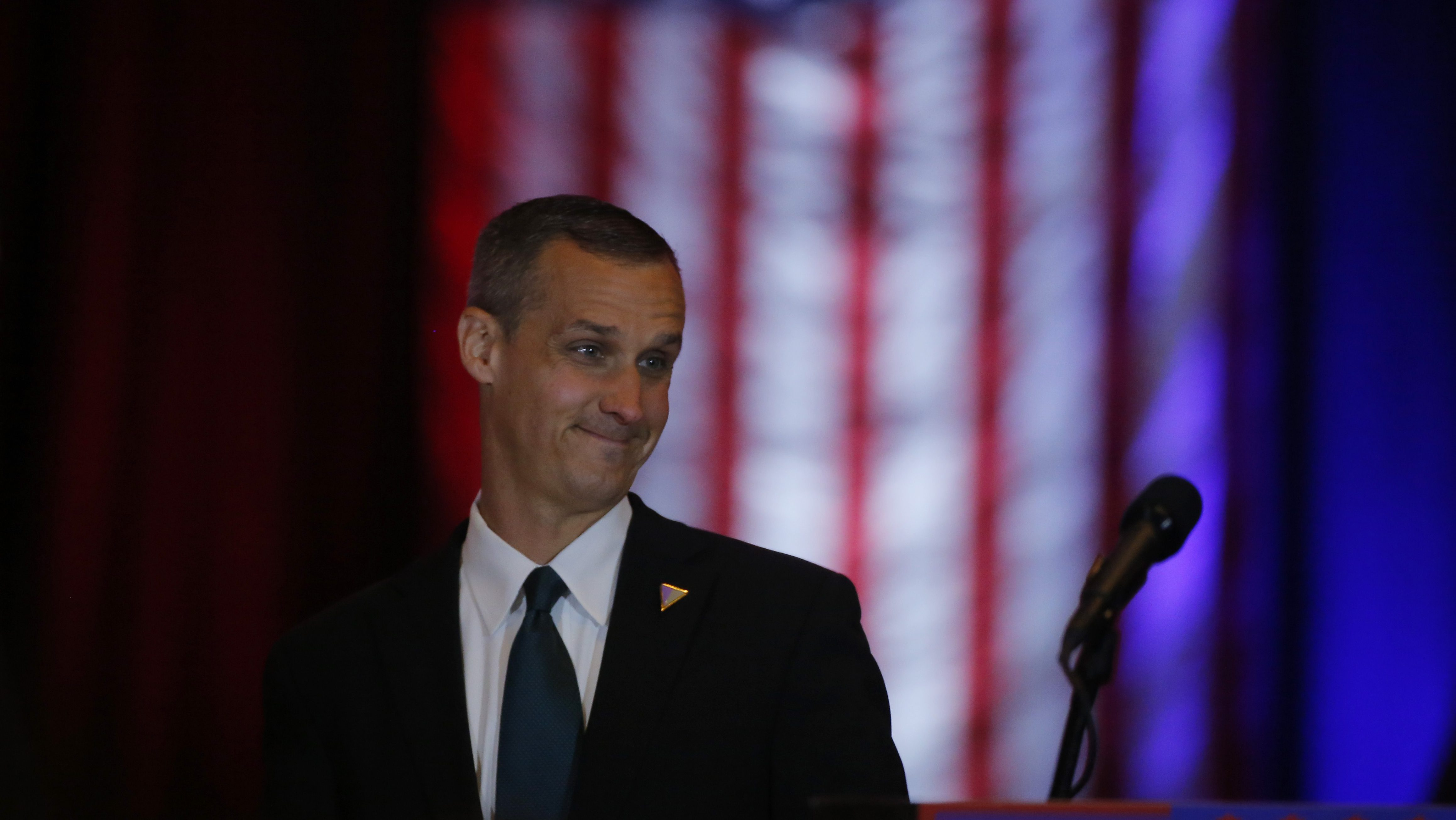Corey Lewandowski, campaign manager for Republican U.S. presidential candidate Donald Trump, reacts as he walks across the stage at Trump's five state primary night rally at the Trump Tower in New York City U.S., April 26, 2016     REUTERS/Lucas Jackson - RTX2BSWI