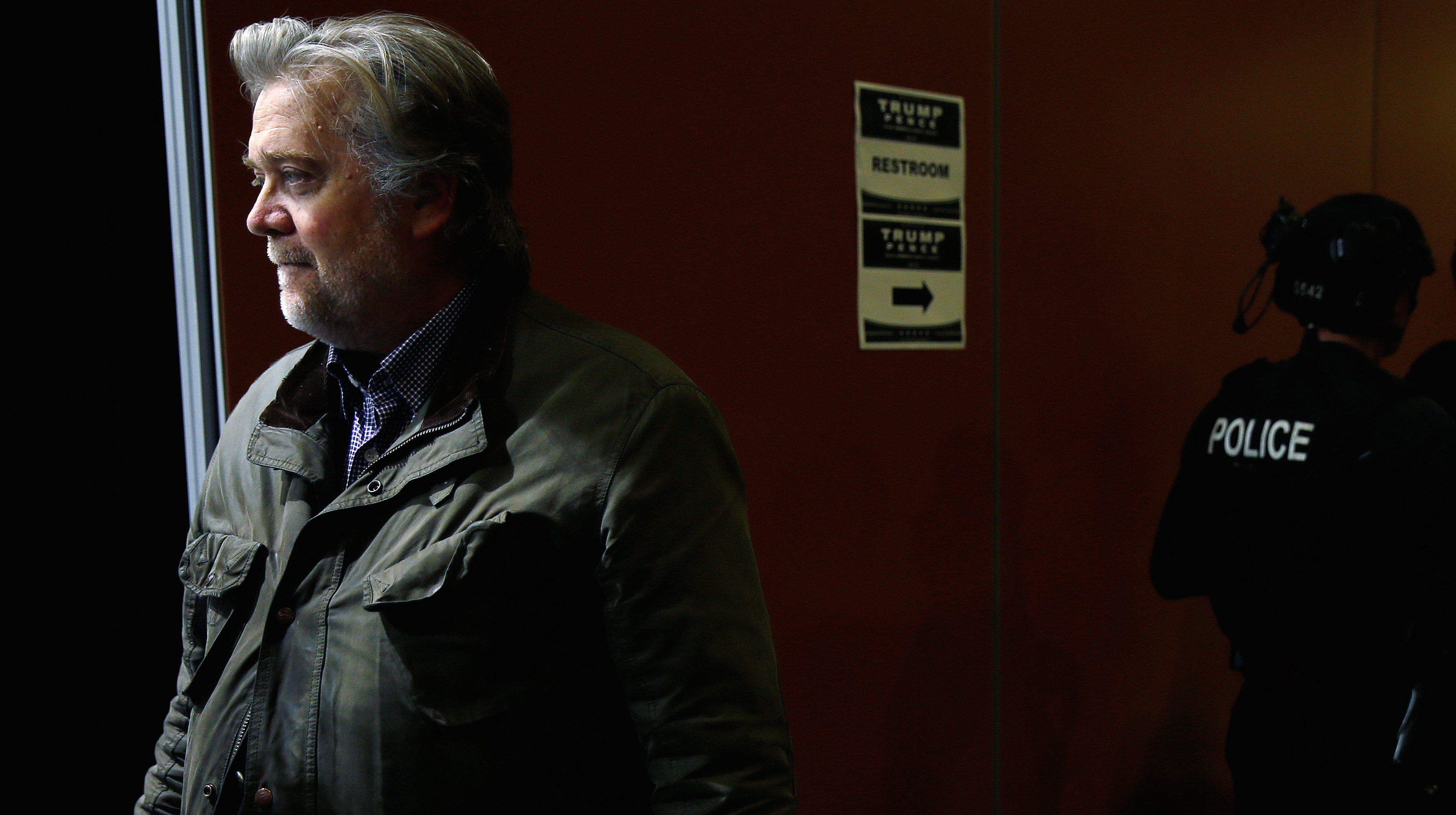 Republican presidential nominee Donald Trump's campaign CEO Steve Bannon is pictured backstage after a campaign event in Phoenix, Arizona, U.S. October 29, 2016.