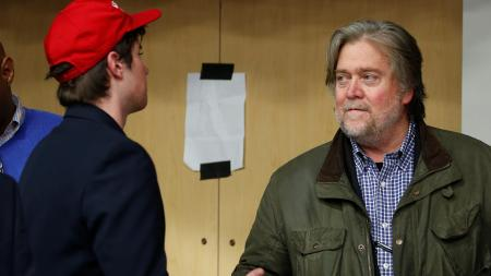 Republican presidential nominee Donald Trump's campaign CEO Steve Bannon is pictured backstage during a campaign event in Eau Claire, Wisconsin U.S. November 1, 2016.