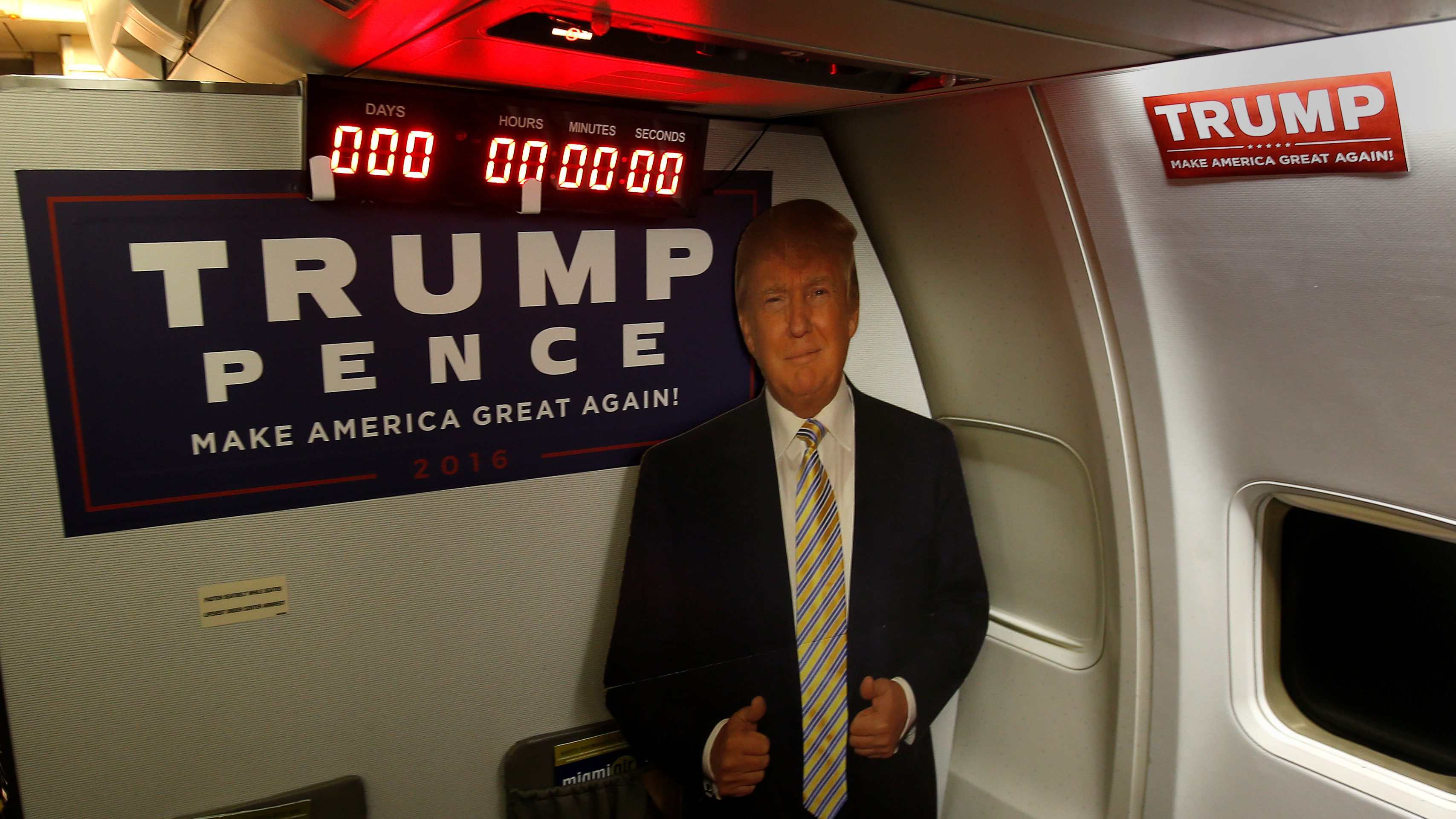 A countdown clock announces zero hours until election day on the press charter that covers Republican presidential nominee Donald Trump in Grand Rapids