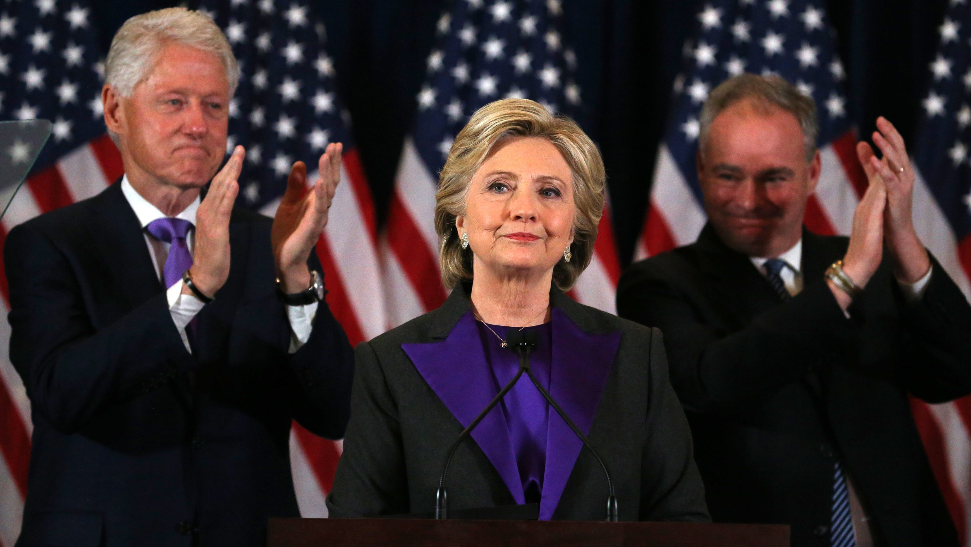 Hillary Clinton addresses her staff and supporters about the results of the U.S. election at a hotel in New York