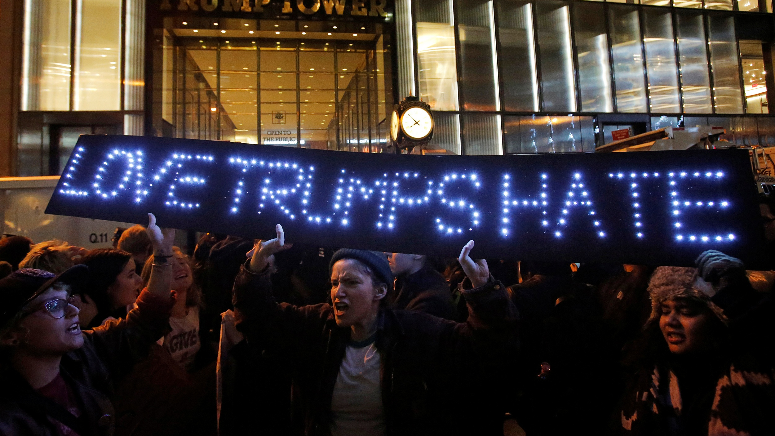 People protest outside Trump Tower following President-elect Donald Trump's election victory in Manhattan, New York, U.S., November 9, 2016. REUTERS/Andrew Kelly