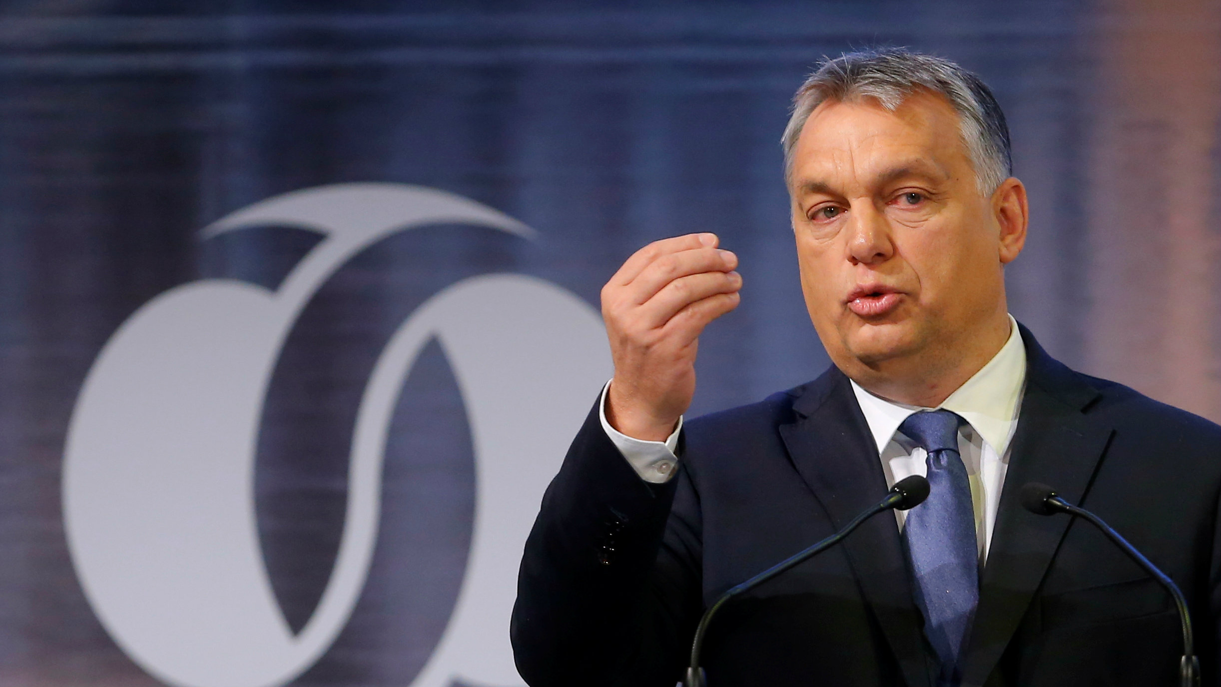 Hungarian Prime Minister Viktor Orban delivers a speech.