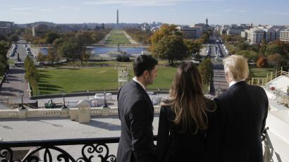 U.S. Speaker of the House Ryan shows Melania Trump and U.S. President-elect Donald Trump the Mall in Washington.