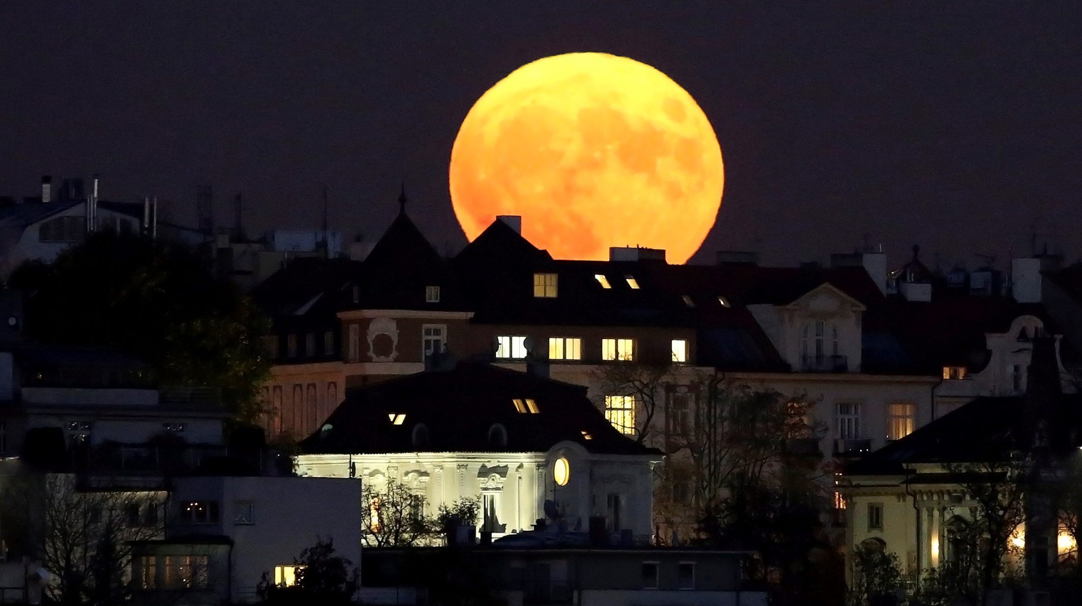 The supermoon rises in Prague, Czech Republic November 14, 2016.