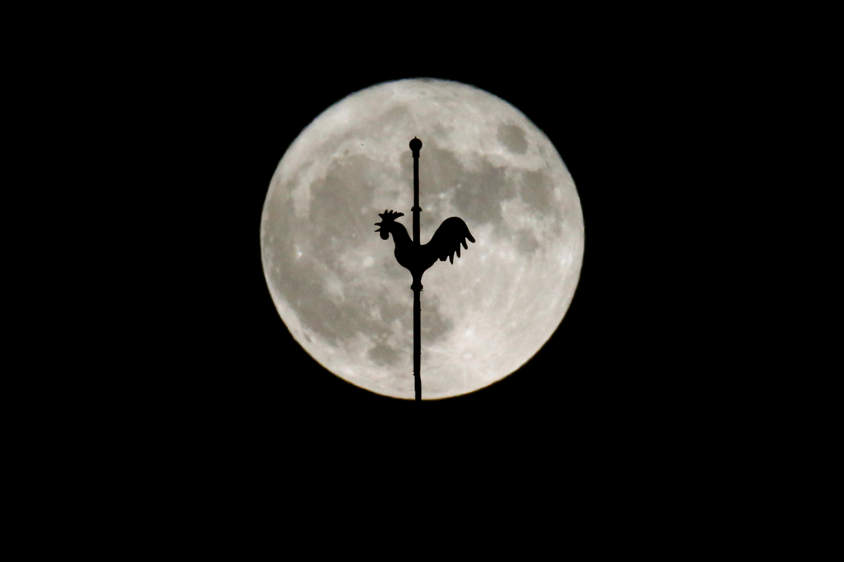 The rising supermoon is seen behind the weathercock of the church of Saint-Hilaire in the village of Saint-Fiacre-sur-Maine near Nantes, western France November 14, 2016.