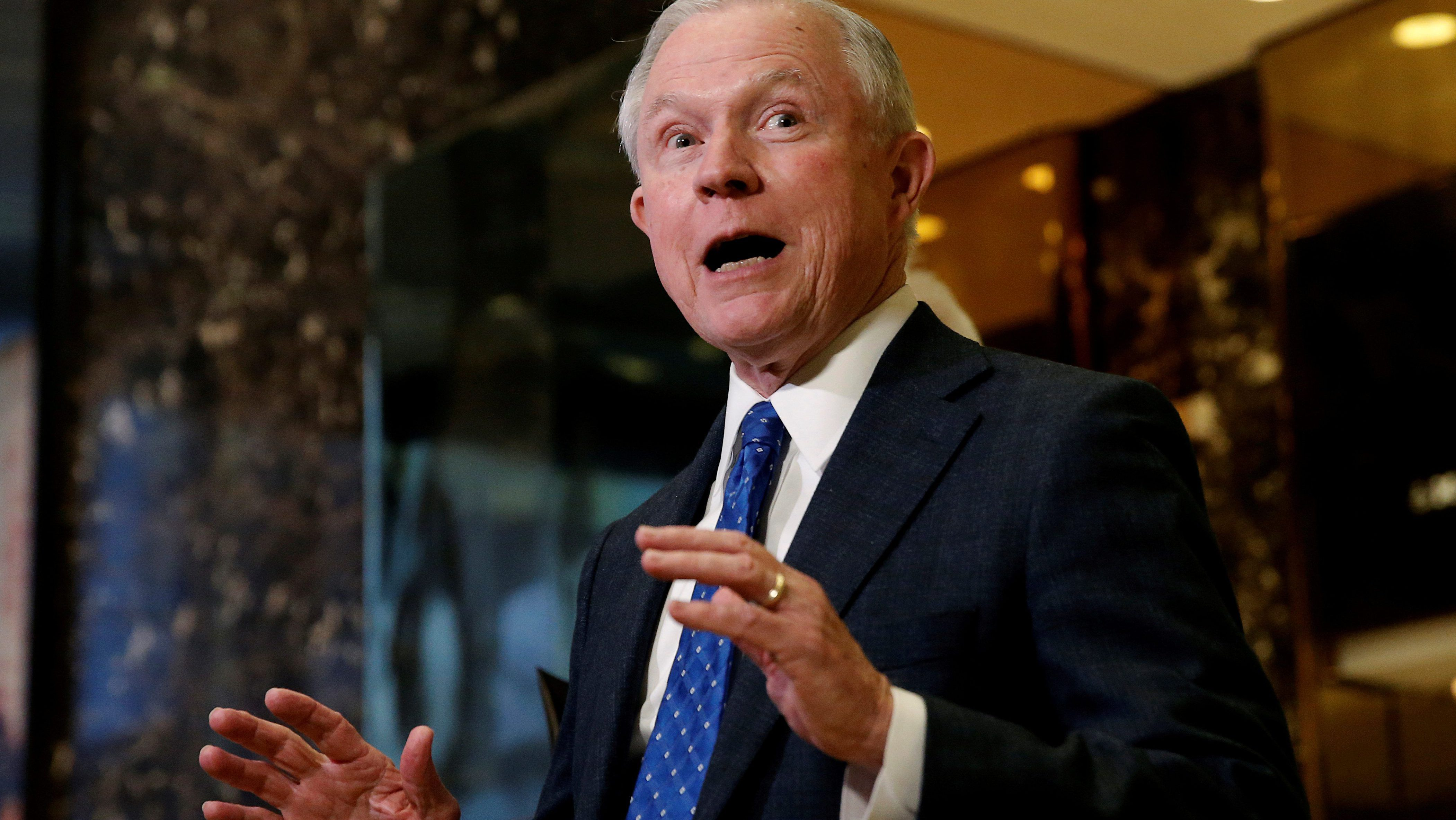 U.S. Senator Jeff Sessions (R-AL), an advisor to U.S. President Elect Donald Trump, speaks to members of the Media in the lobby of Trump Tower in the Manhattan borough of New York City, New York November 17, 2016. REUTERS/Mike Segar/File Photo TPX IMAGES OF THE DAY - RTX2U9ZH