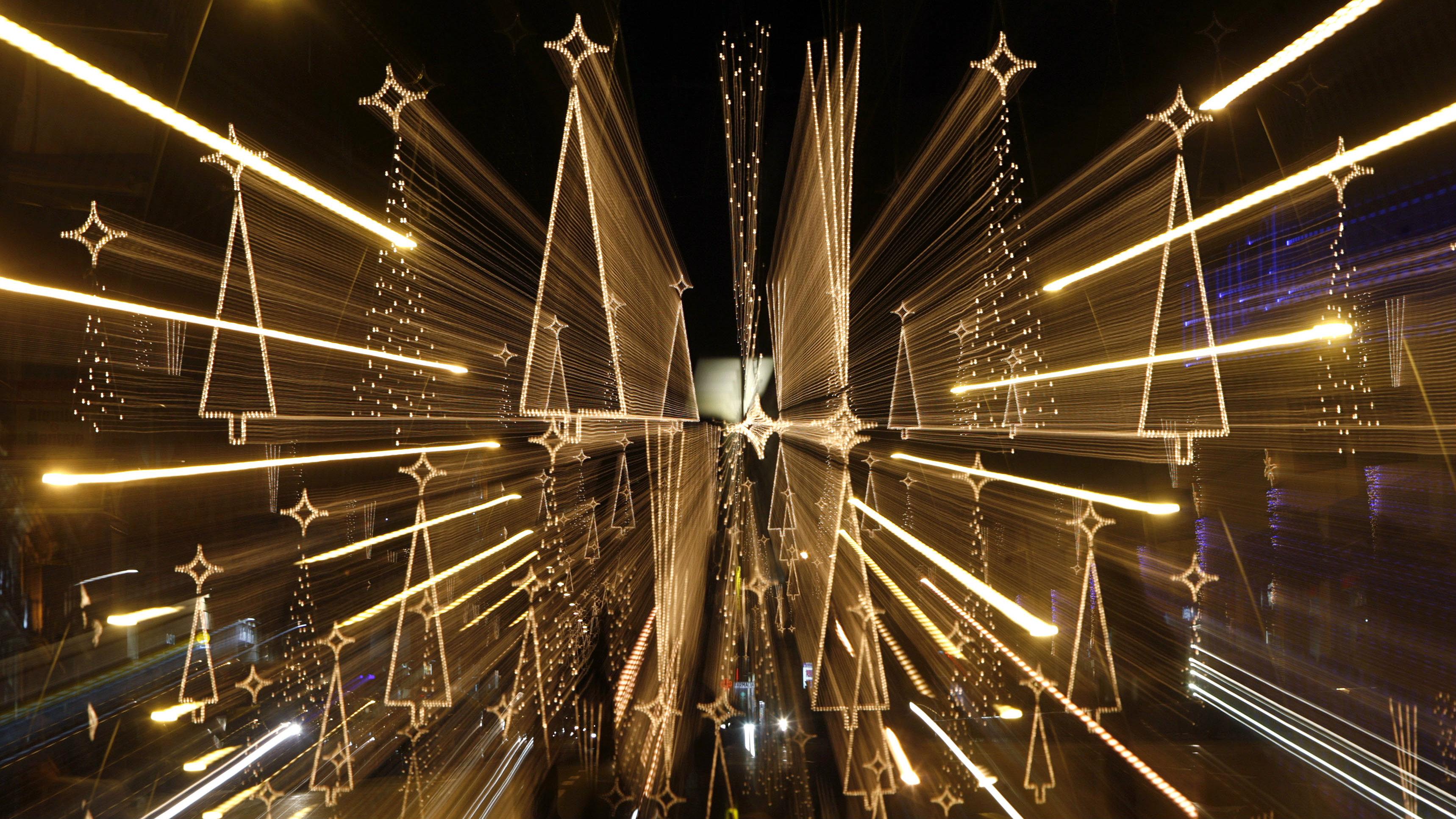 Christmas lights illuminate Pelai Street in central Barcelona