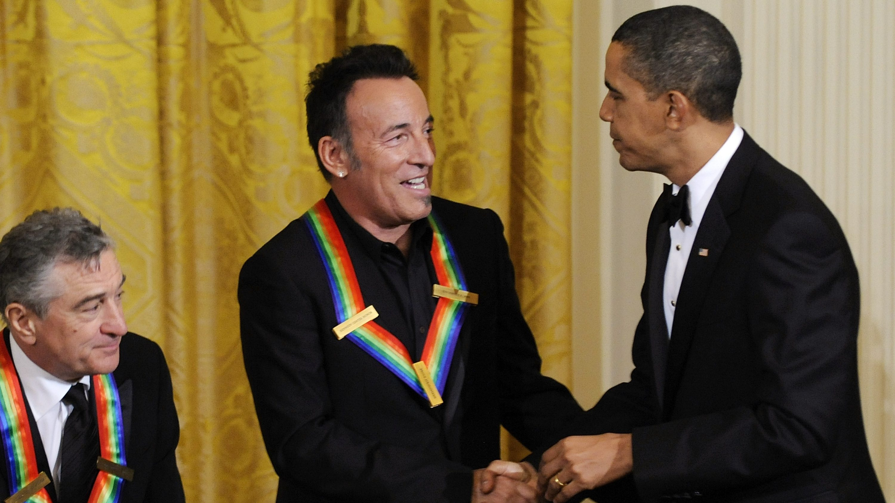 U.S. President Obama greets Springsteen and DeNiro at a reception at the White House in Washington
