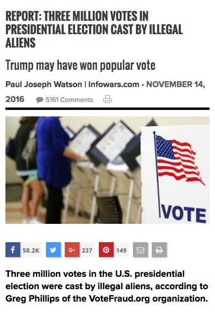 InfoWars voter fraud article