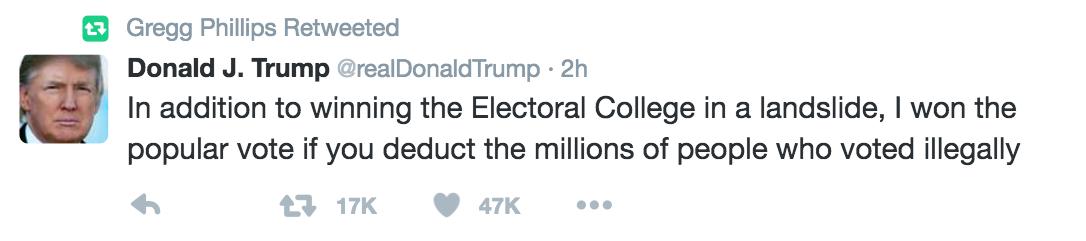 Donald Trump voter fraud tweet