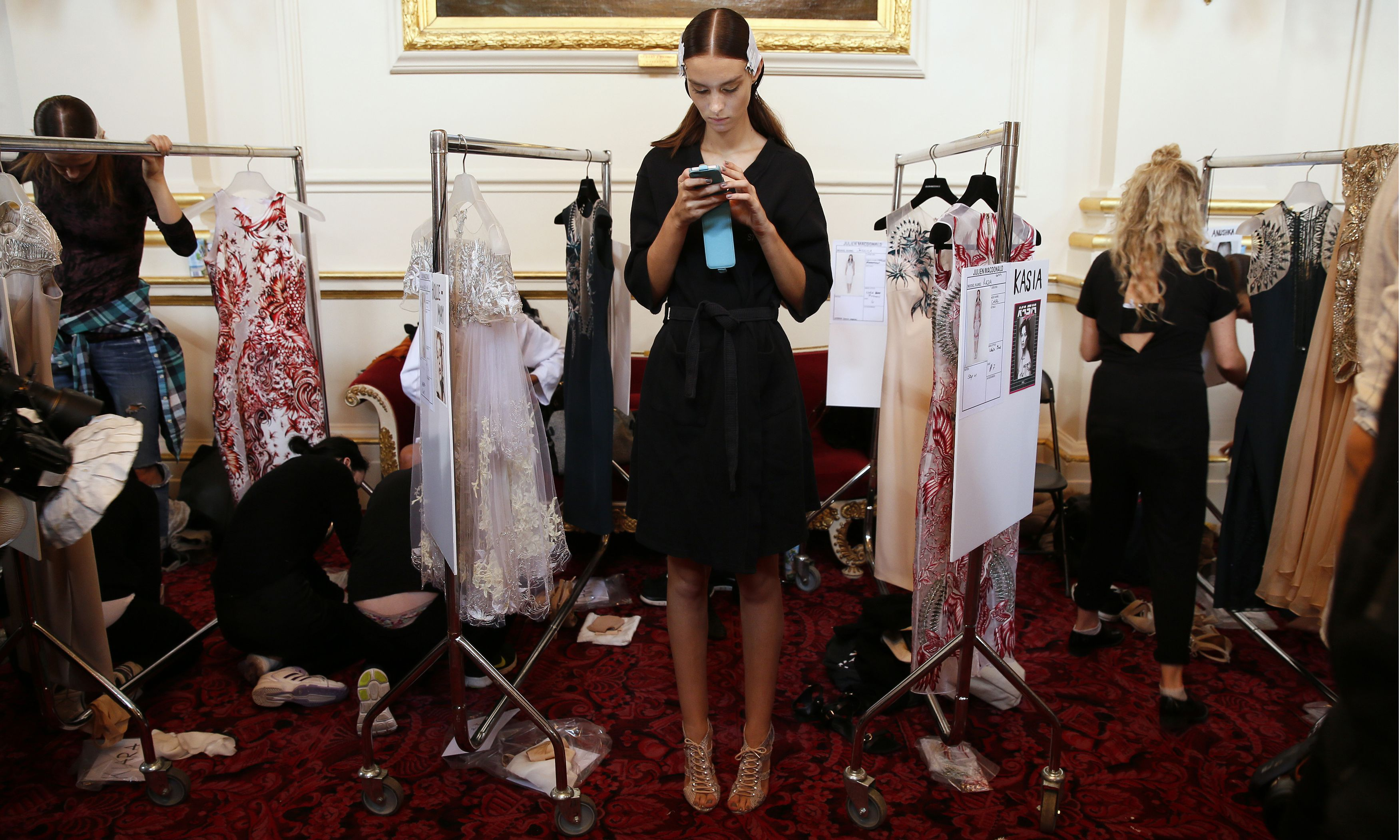 woman shopping, iphone, model, backstage