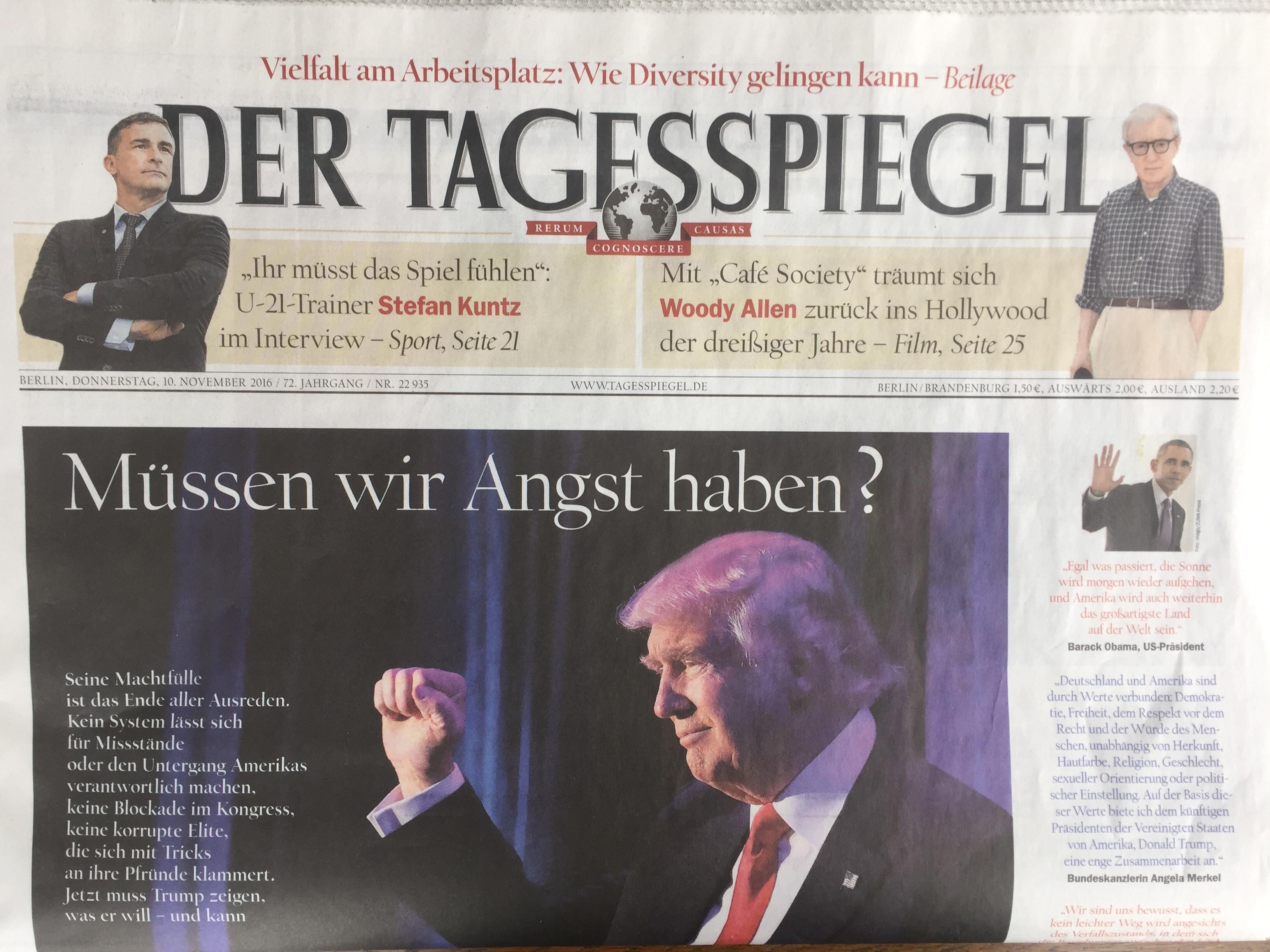 The front page of German newspaper, Der Tagesspiegel, Nov. 10 2016.