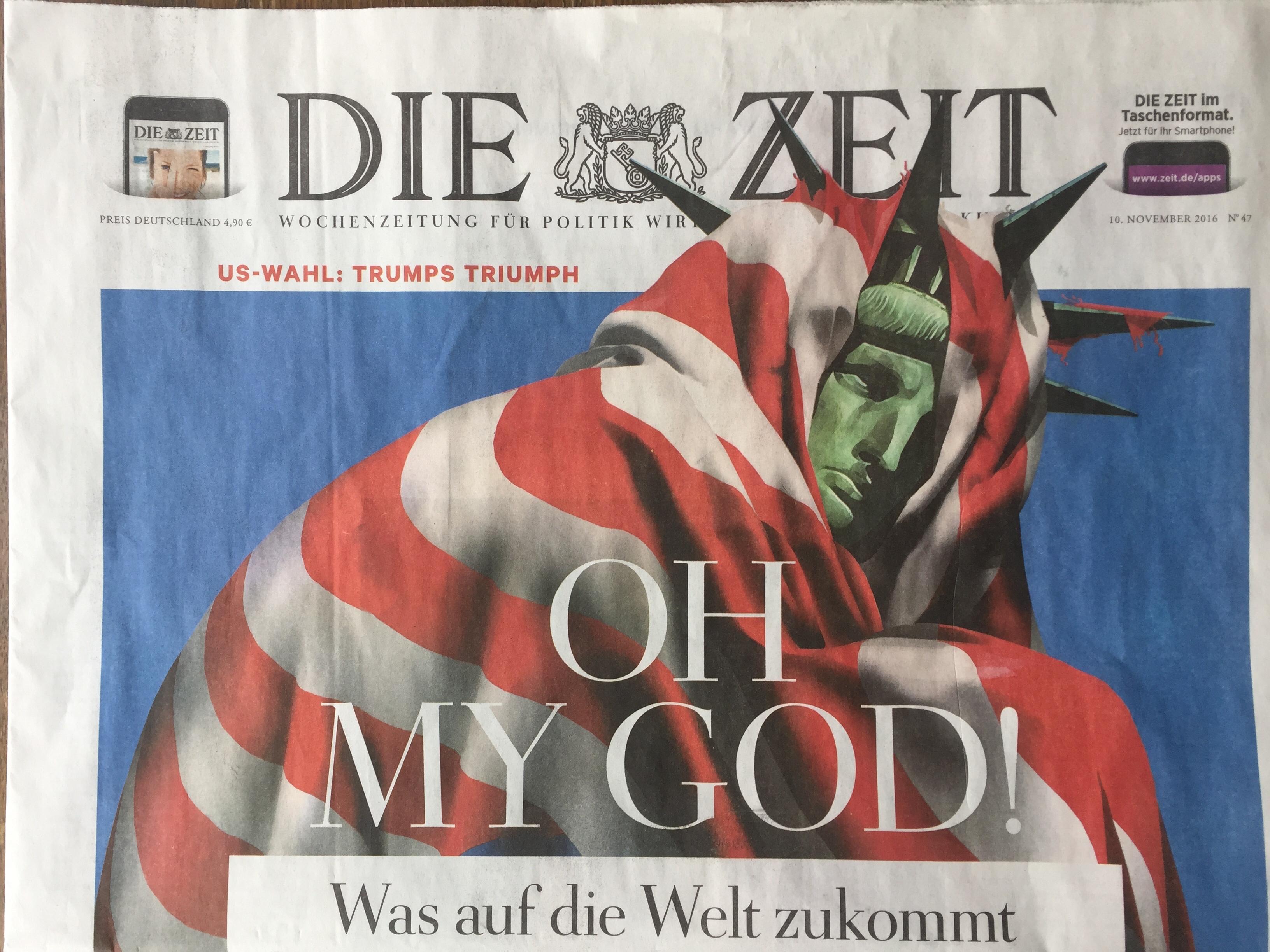 The front page of German newspaper Die Zeit, Nov. 10 2016