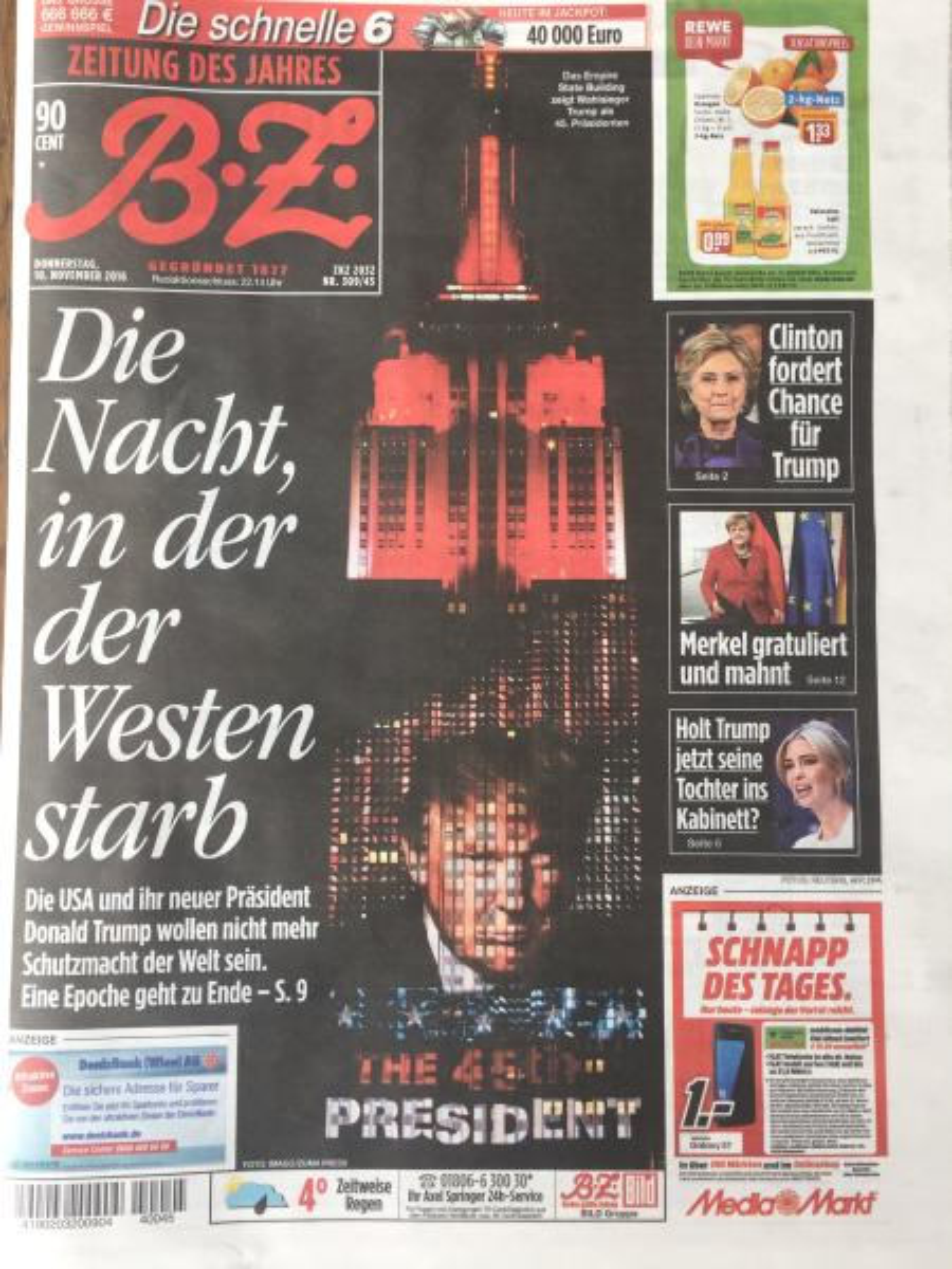 Local Berlin newspaper Bild Zeitung, Nov. 10 2016.