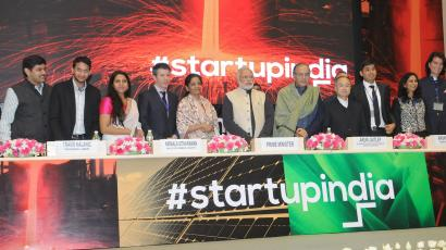 Indian prime minister Narendra Modi with dignitaries during 'Start Up India' event.